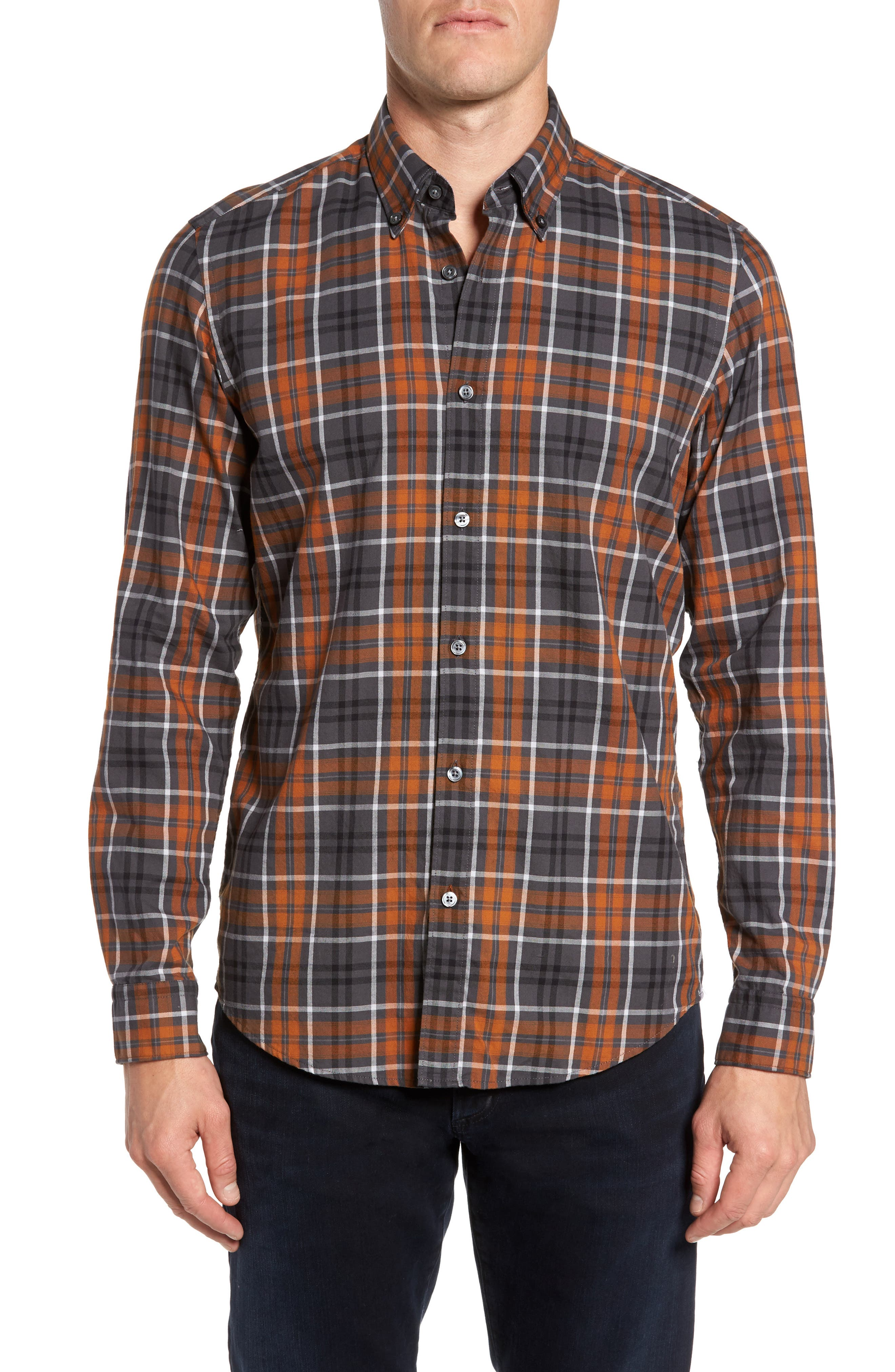 Check Sport Shirt,                         Main,                         color, Brown