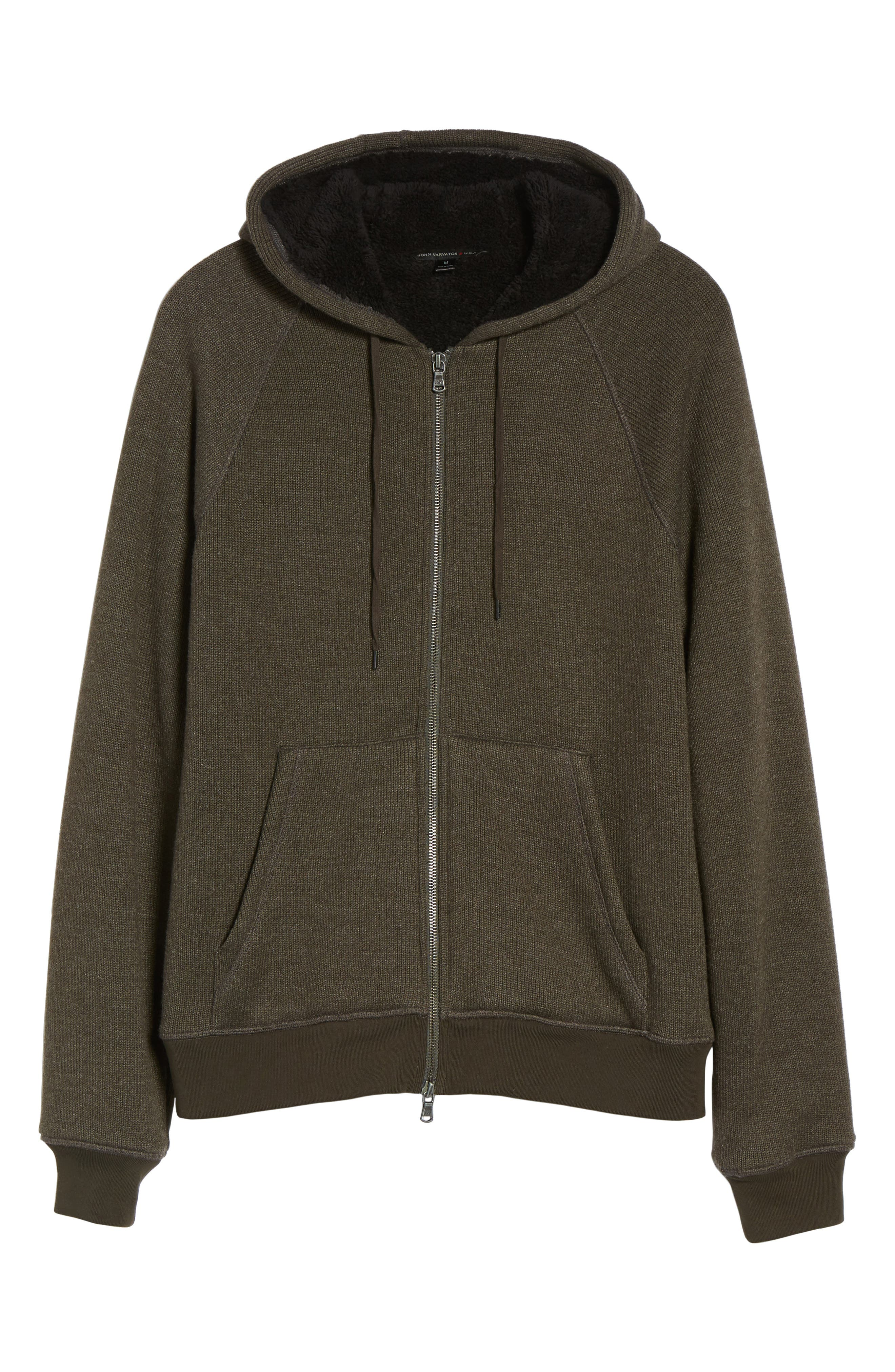 Fleece Lined Zip Hoodie,                             Alternate thumbnail 6, color,                             Olive Branch
