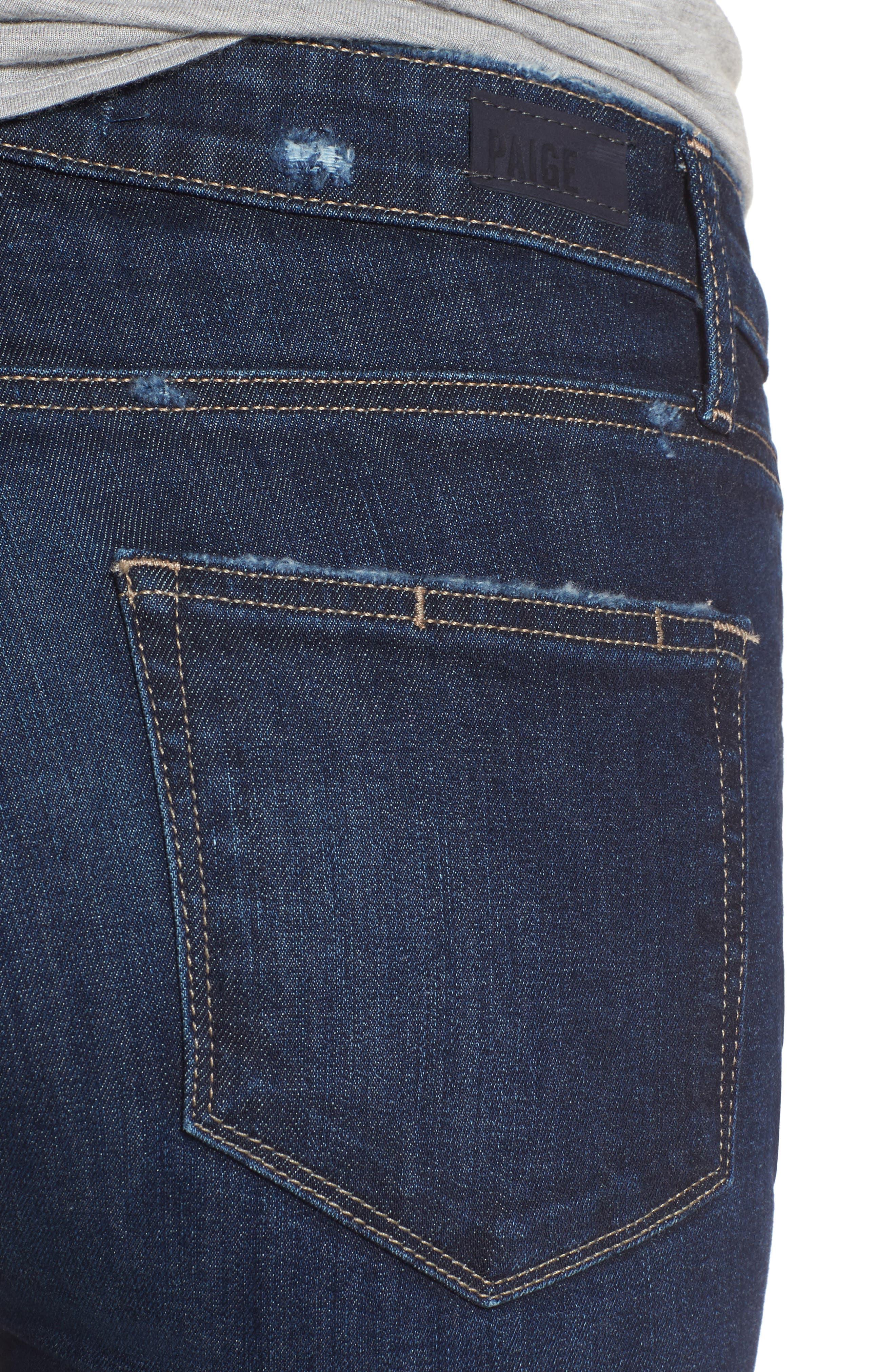 Margot High Waist Ankle Skinny Jeans,                             Alternate thumbnail 4, color,                             Davidson Destructed