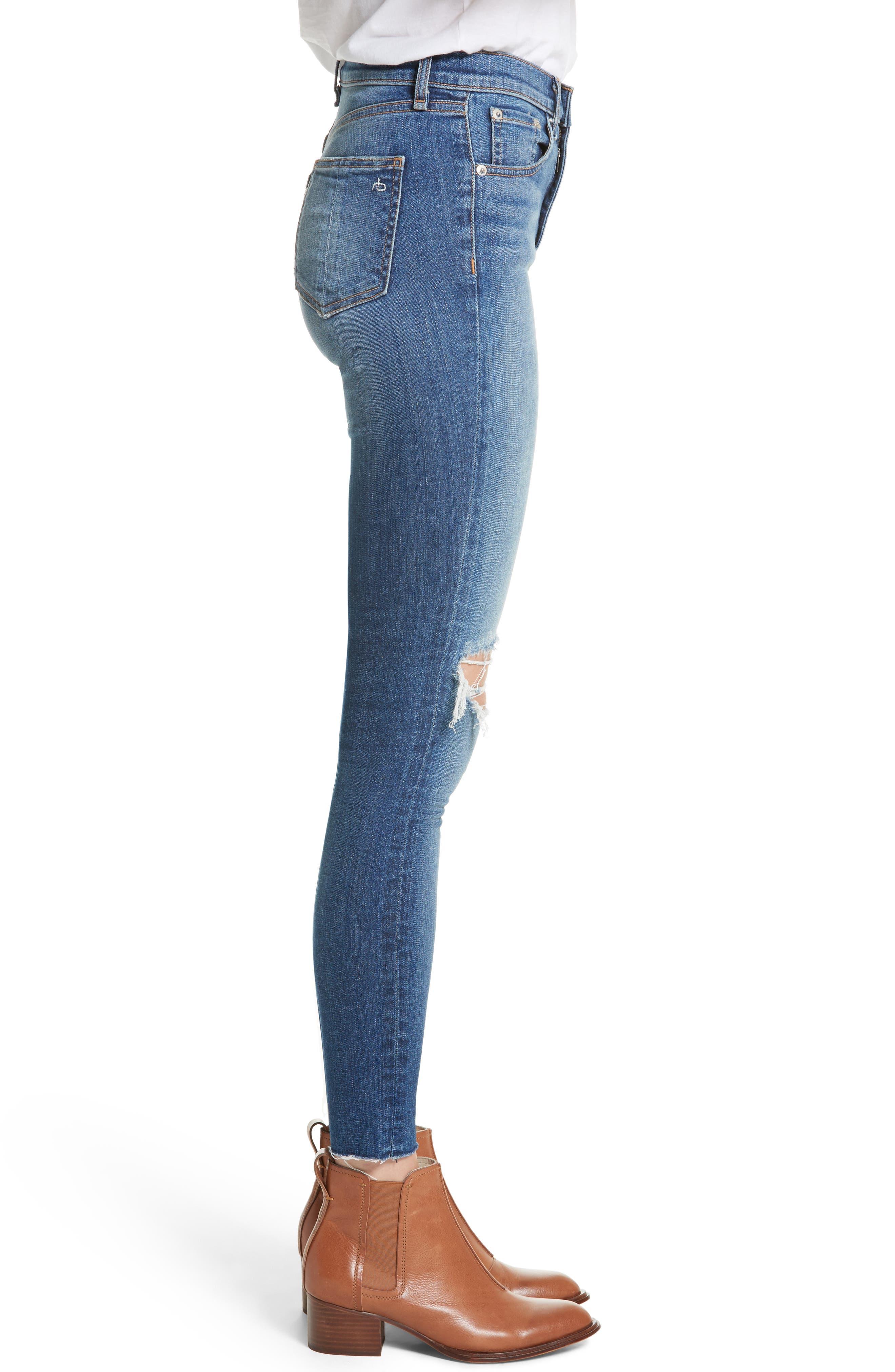 Alternate Image 3  - rag & bone/JEAN Ripped High Waist Skinny Jeans (Bonnie)