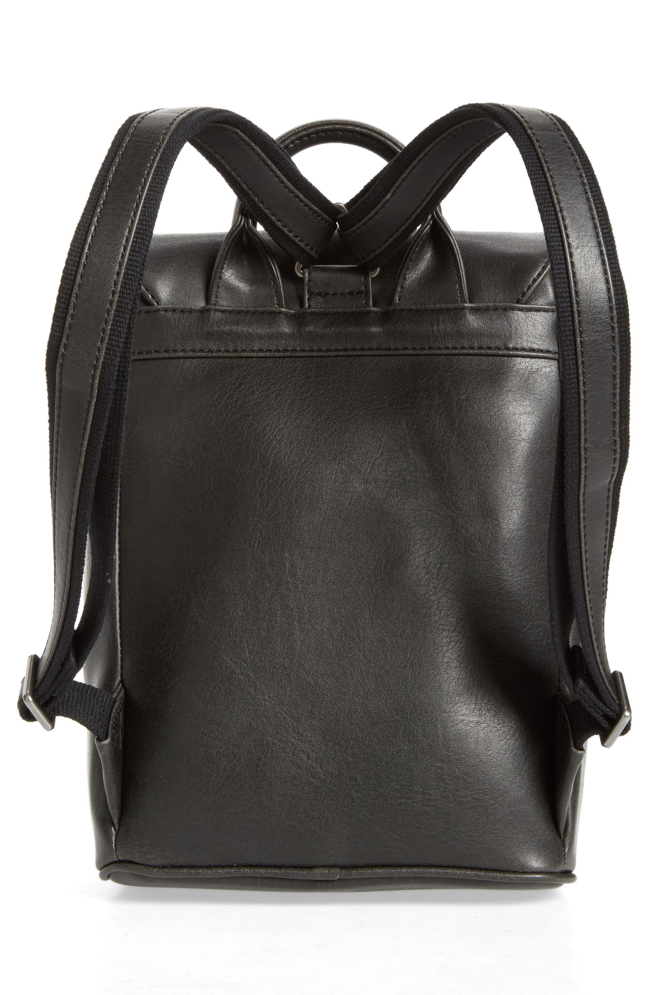Mini Fabi Faux Leather Backpack,                             Alternate thumbnail 3, color,                             Black