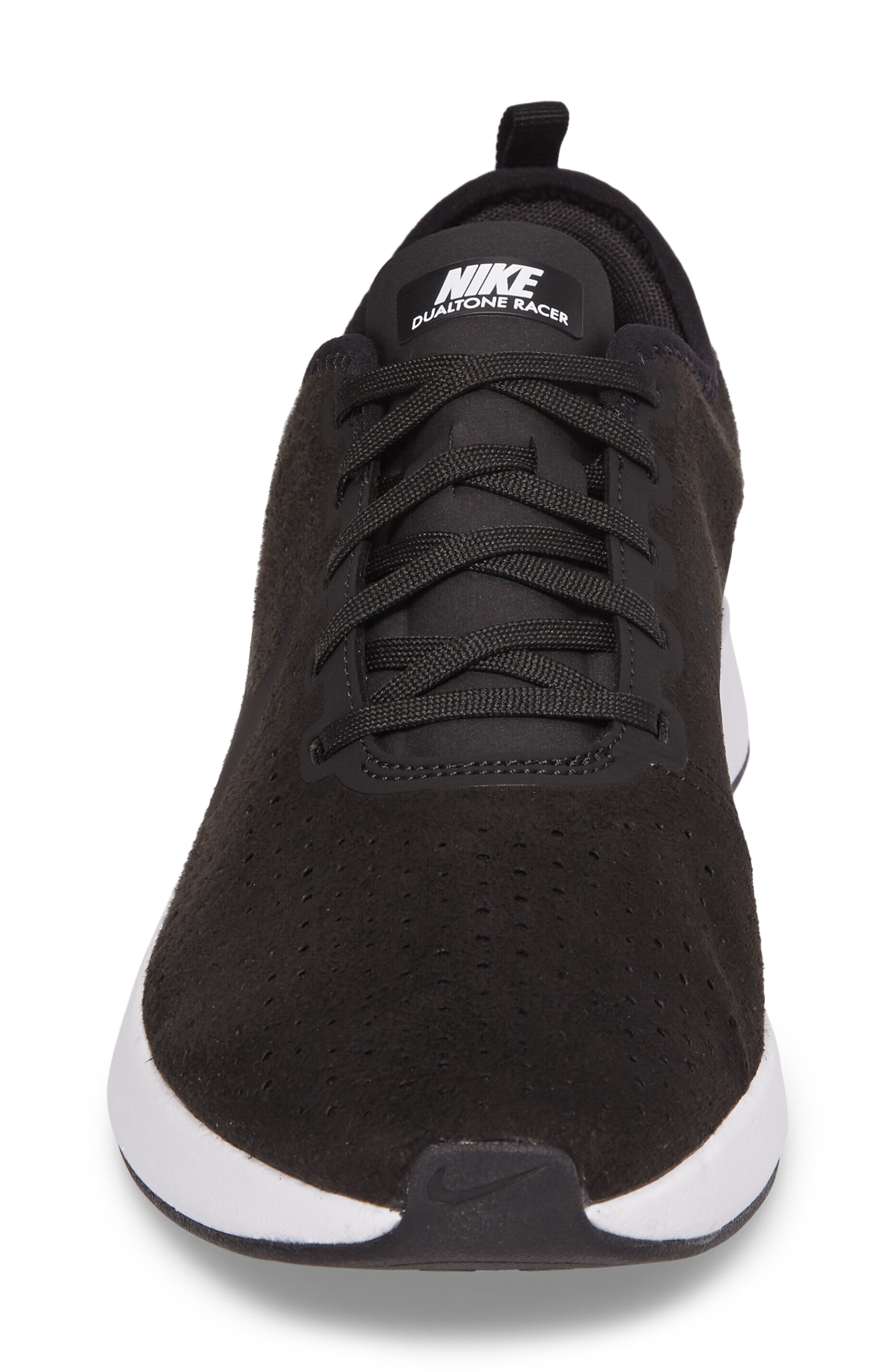 Dualtone Racer Premium Sneaker,                             Alternate thumbnail 4, color,                             Black/Black/White