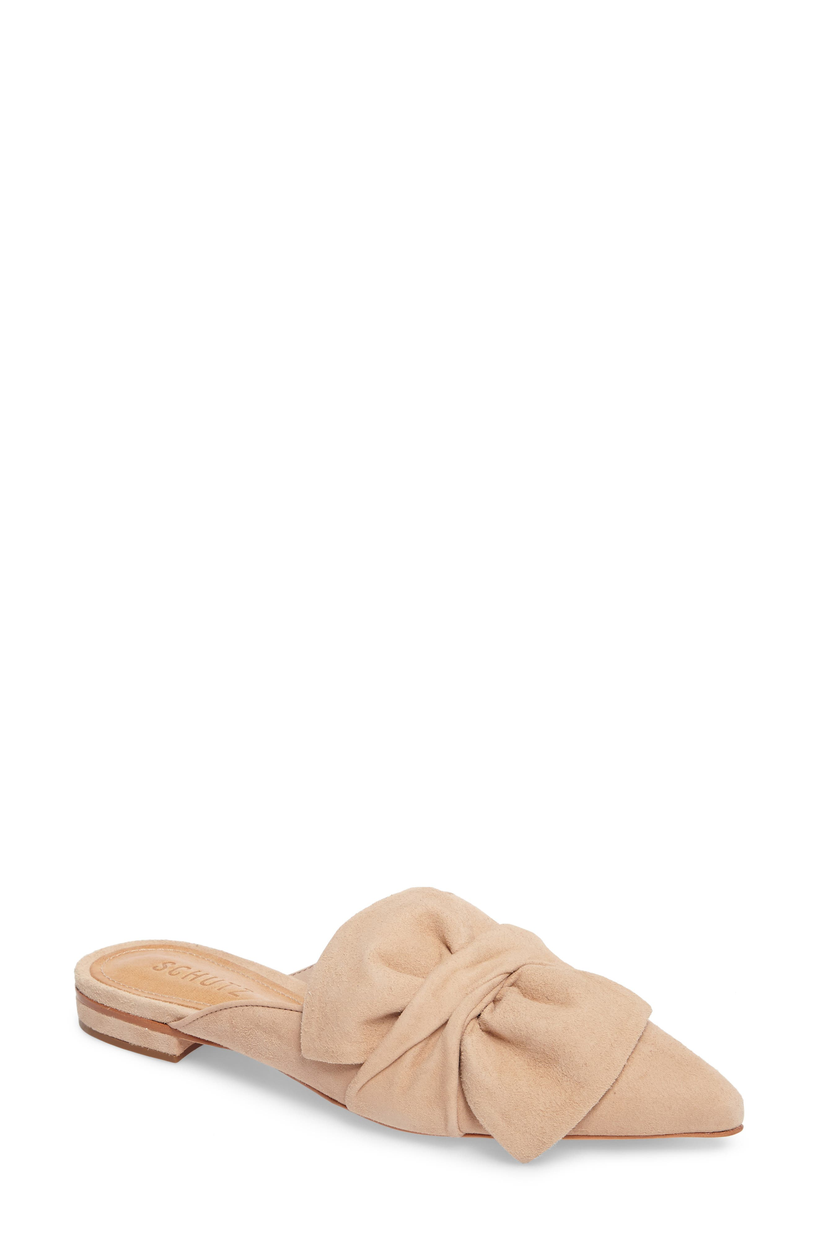 D'Ana Knotted Loafer Mule,                             Main thumbnail 1, color,                             Amendoa Nubuck Leather