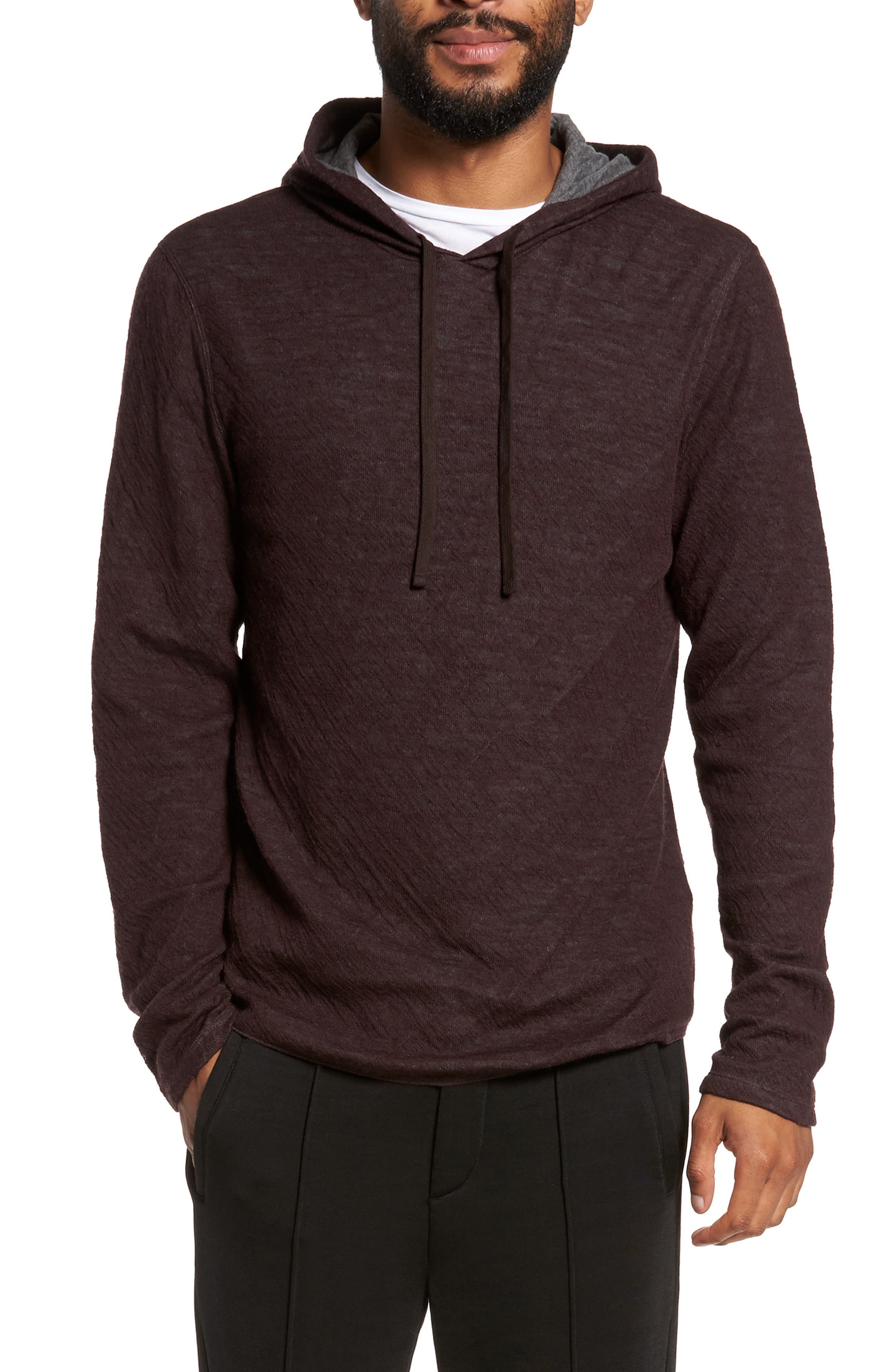Alternate Image 1 Selected - Vince Contrast Double Knit Cotton & Wool Hoodie