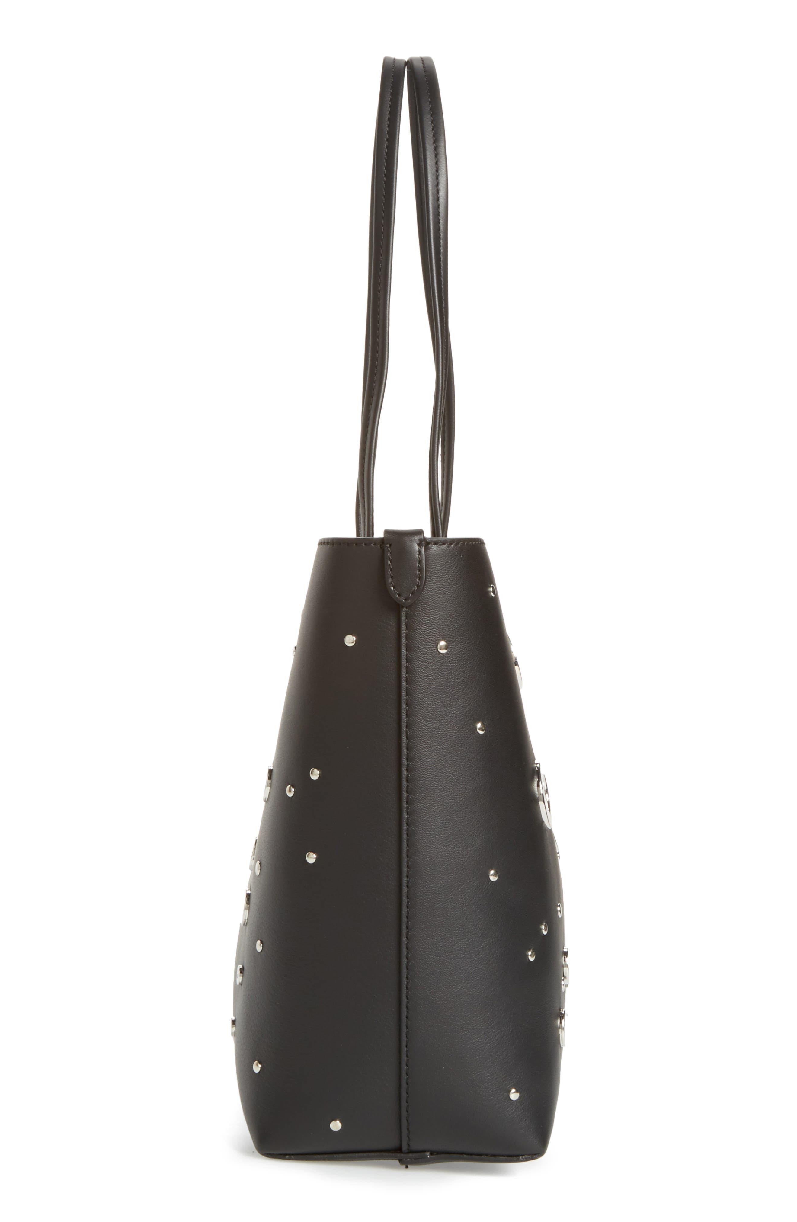 Studded Small Leather Shopper,                             Alternate thumbnail 3, color,                             Black