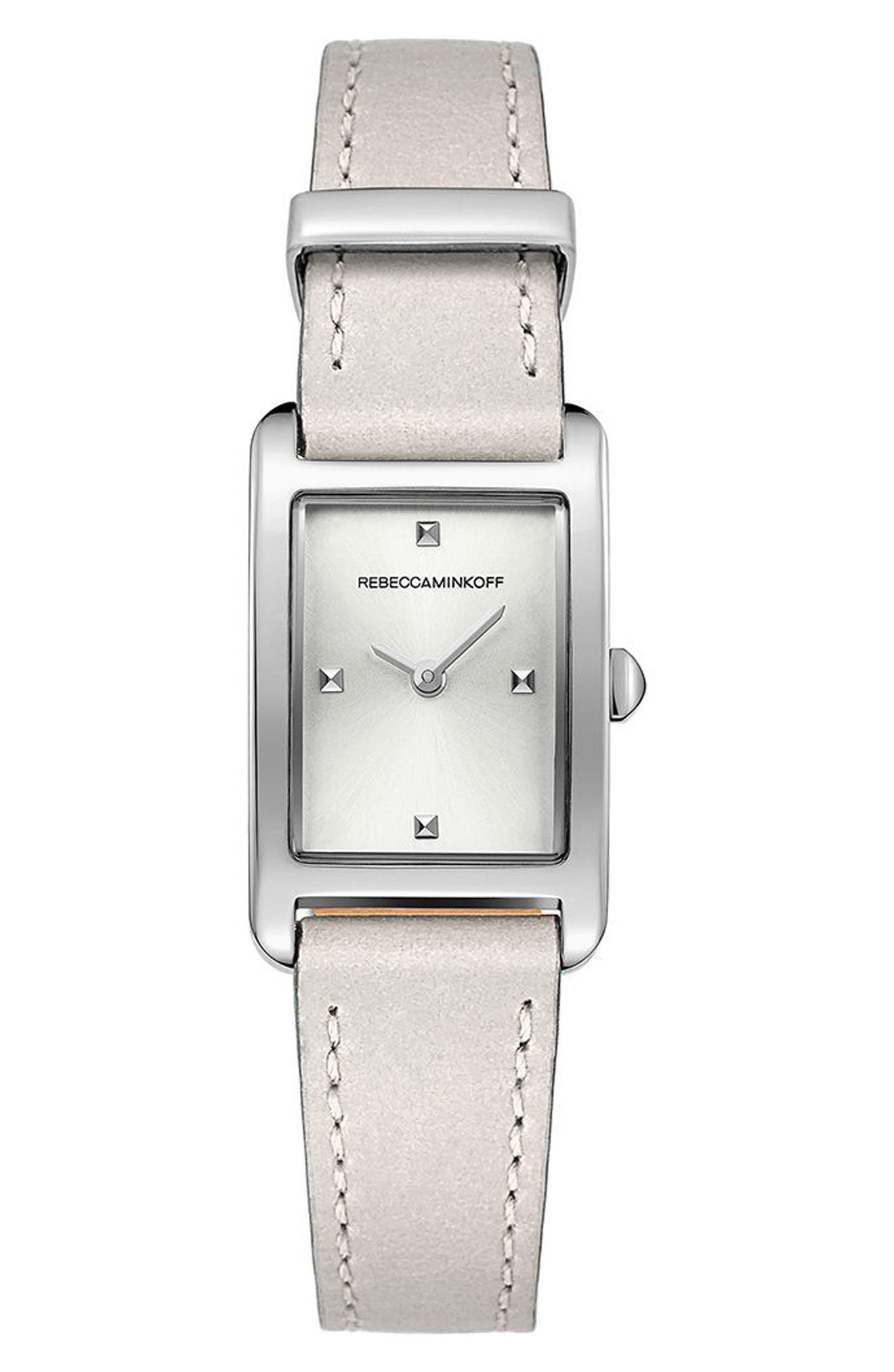 Moment Leather Strap Watch, 19mm x 30mm,                         Main,                         color, Putty/ White/ Silver