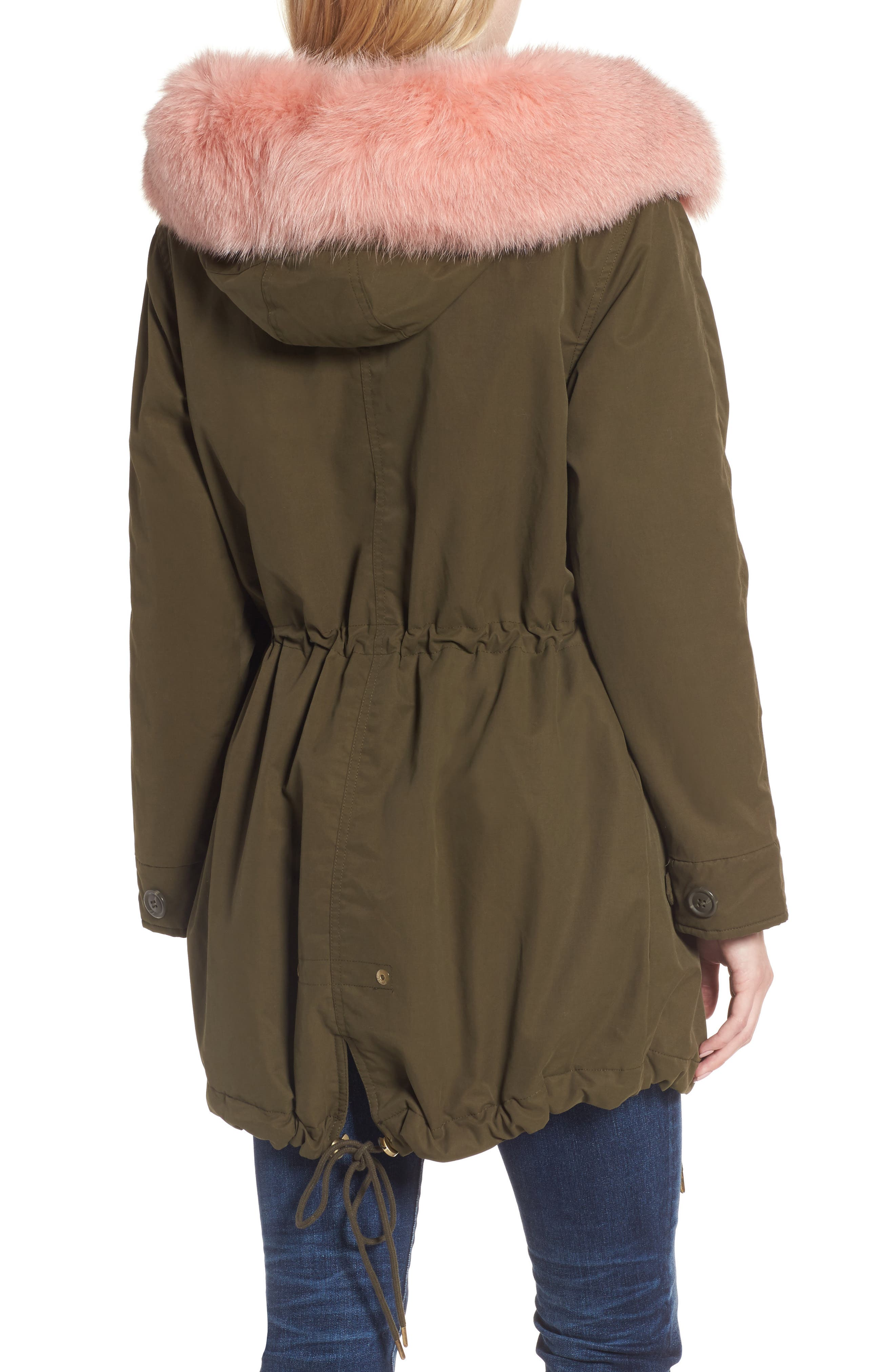 Alternate Image 2  - 1 Madison Hooded Cotton Parka with Genuine Fox Fur Trim