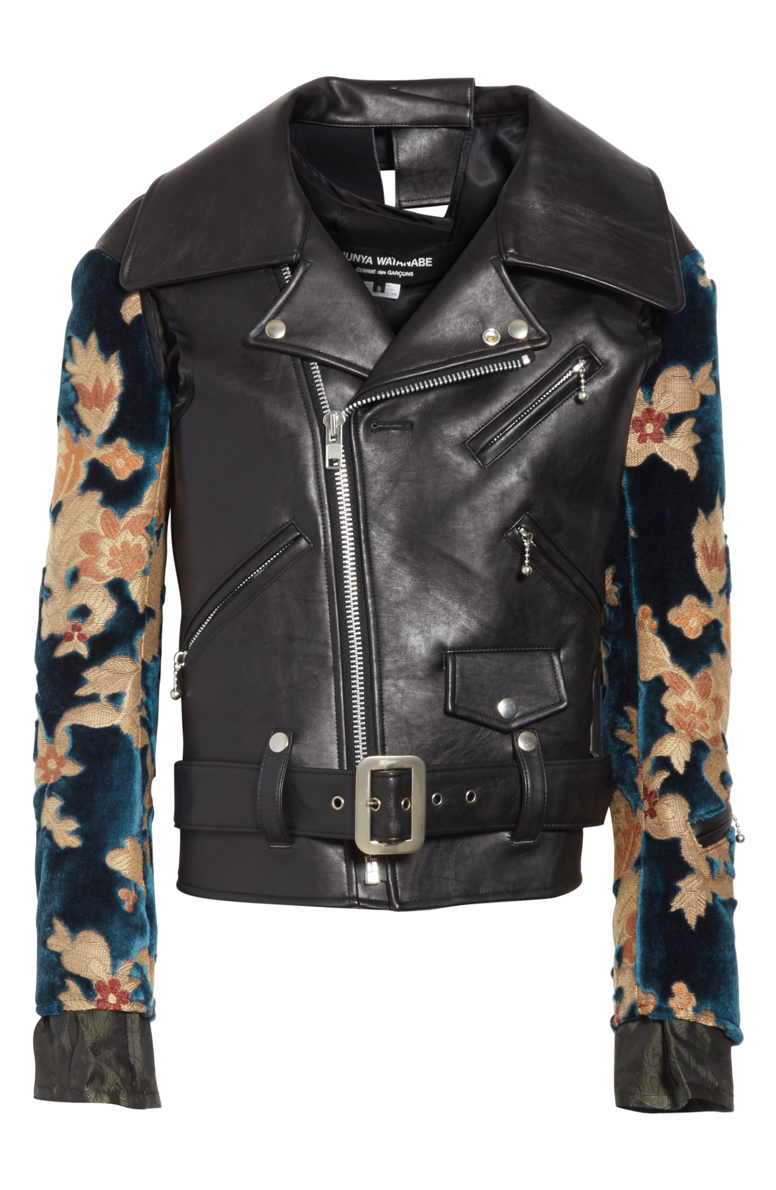 Faux Leather Moto Jacket with Floral Sleeves,                             Alternate thumbnail 6, color,                             Black X Blu/Bge