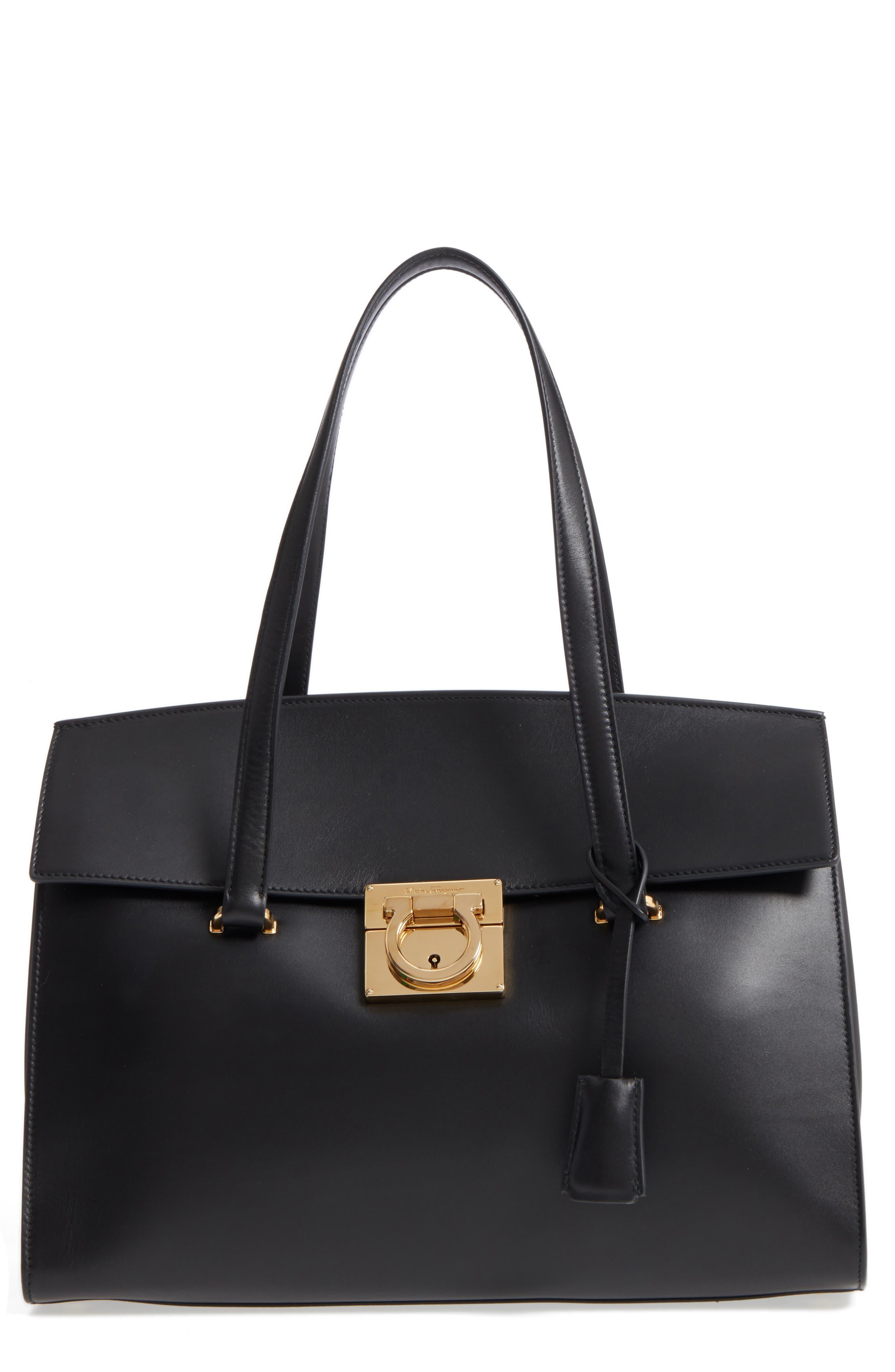 Medium Mara Leather Satchel,                         Main,                         color, Nero