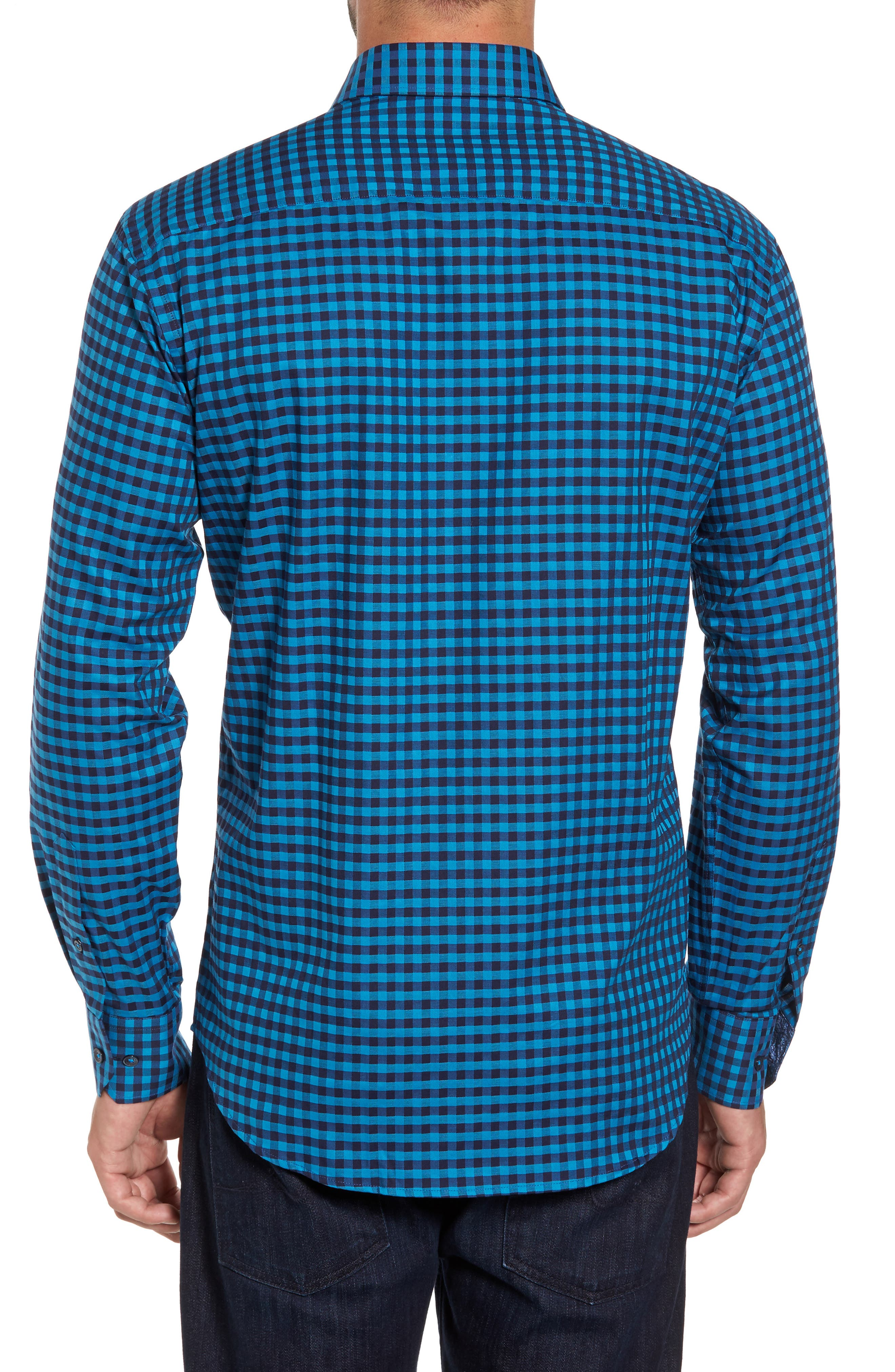 Shaped Fit Check Sport Shirt,                             Alternate thumbnail 2, color,                             Teal