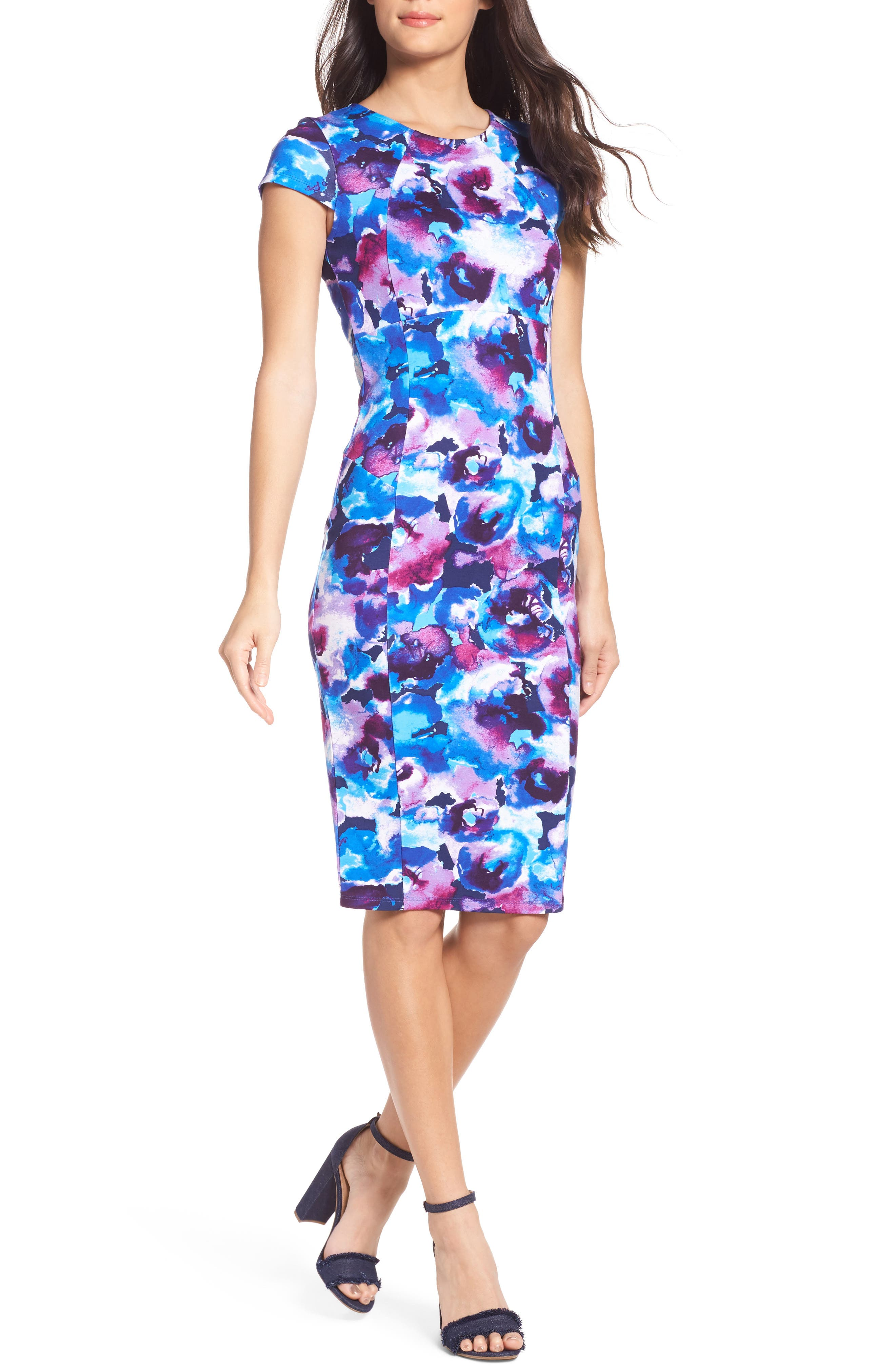 Main Image - Felicity & Coco Wardess Floral Ponte Sheath Dress (Regular & Petite) (Nordstrom Exclusive)