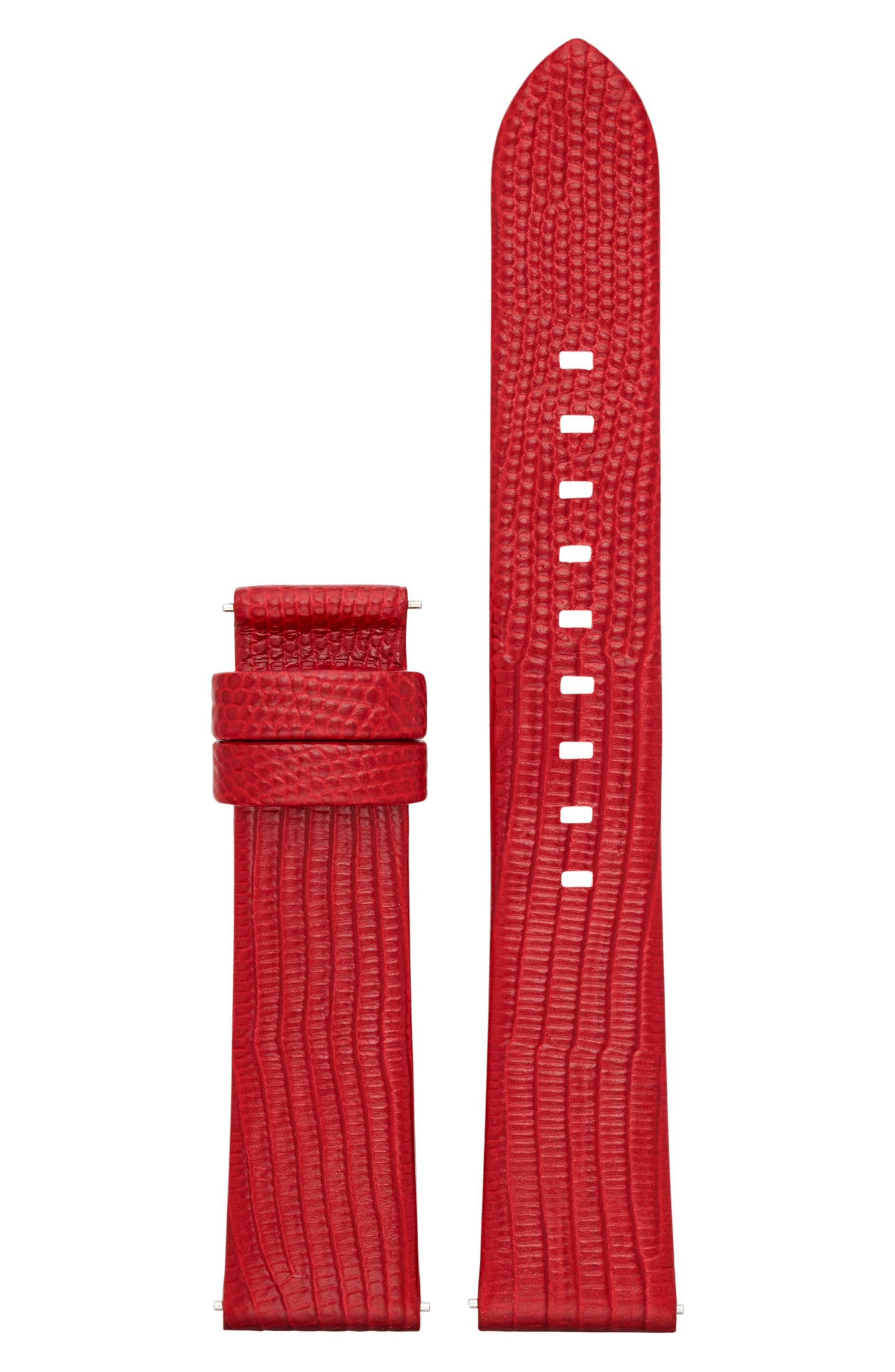 Sofie 18mm Leather Watch Strap,                         Main,                         color, Red