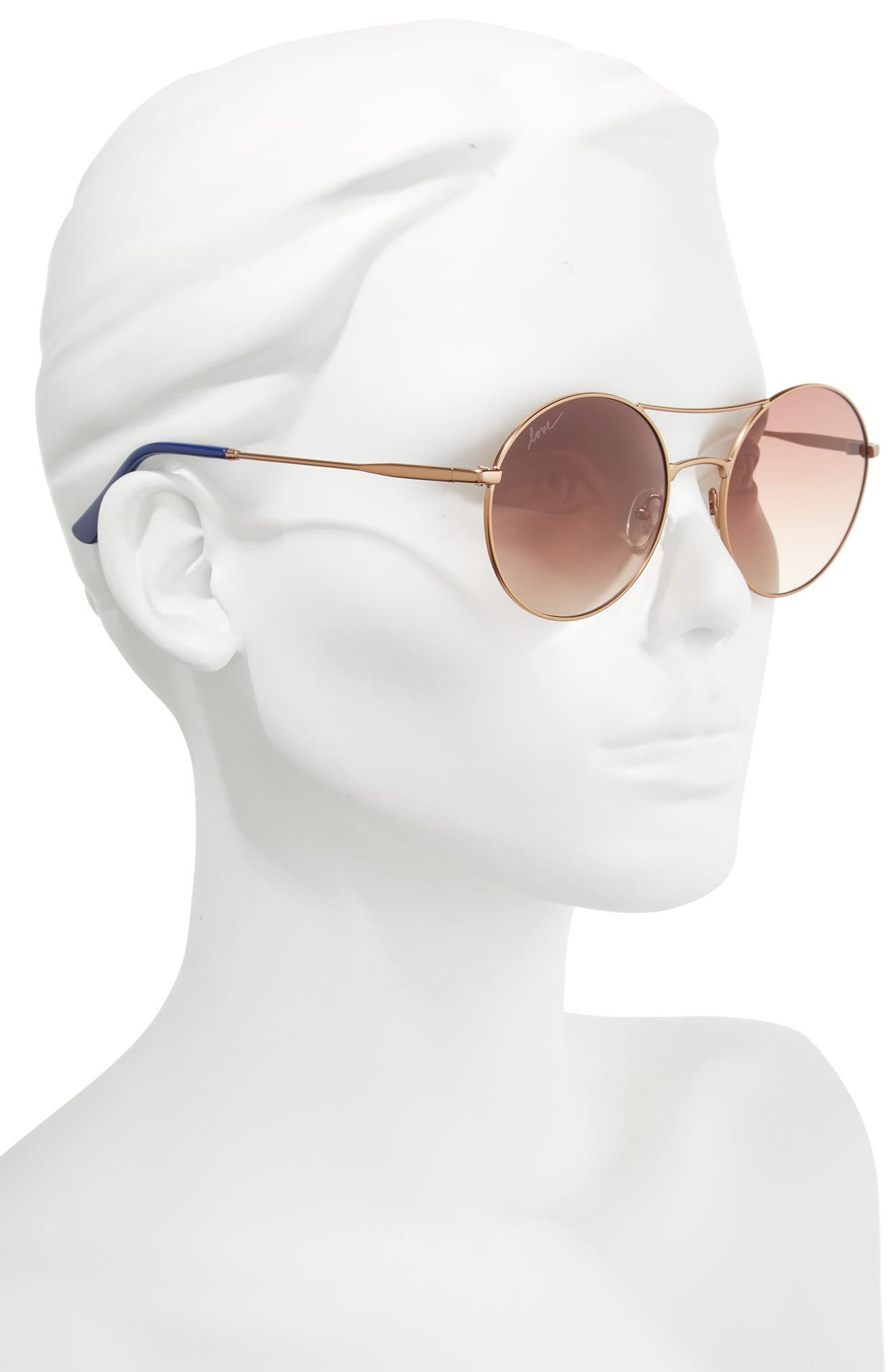 55mm Round Sunglasses,                             Alternate thumbnail 3, color,                             Bronze