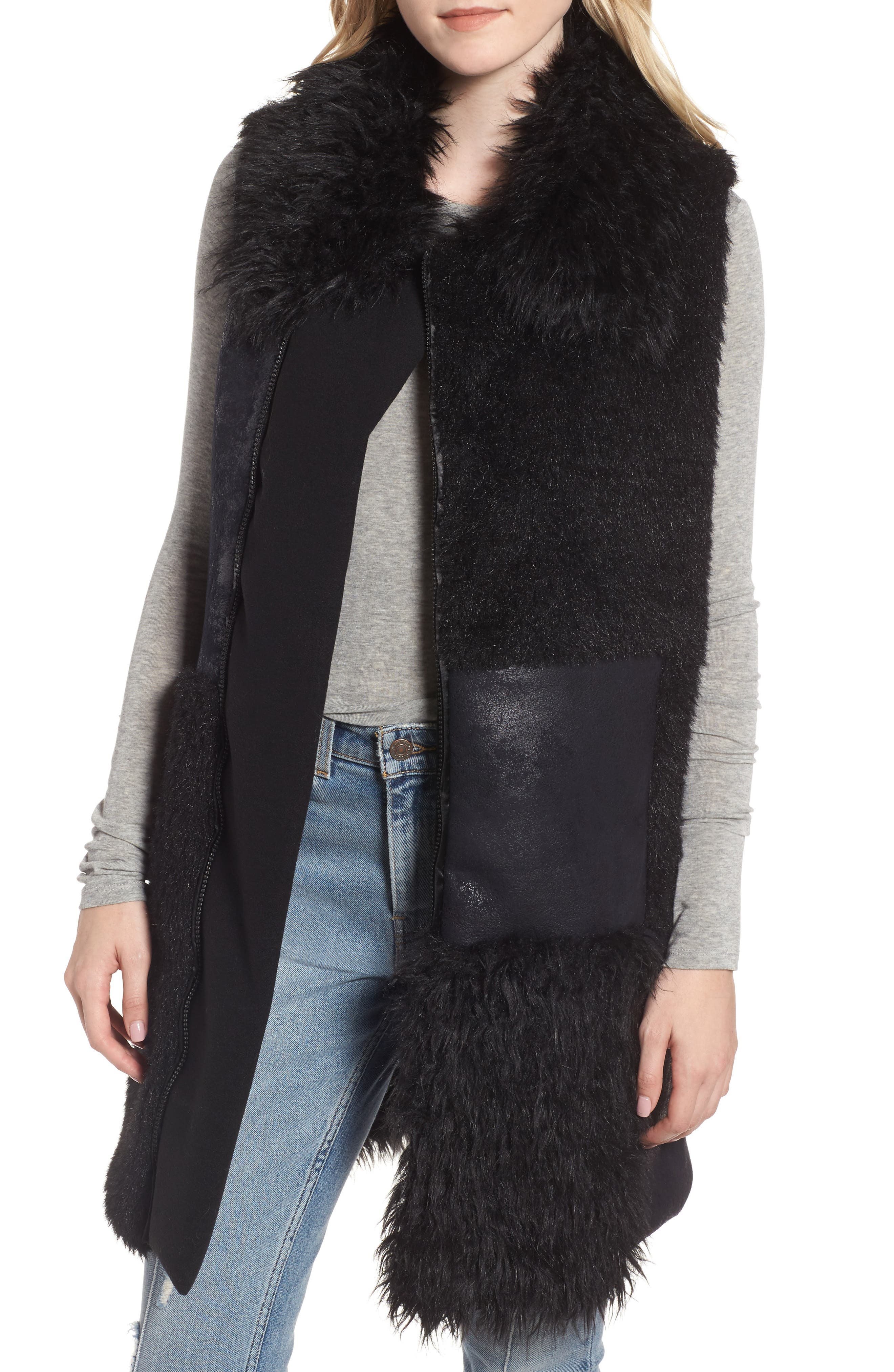 Kimmy Patchwork Faux Fur & Faux Suede Vest,                         Main,                         color, Black