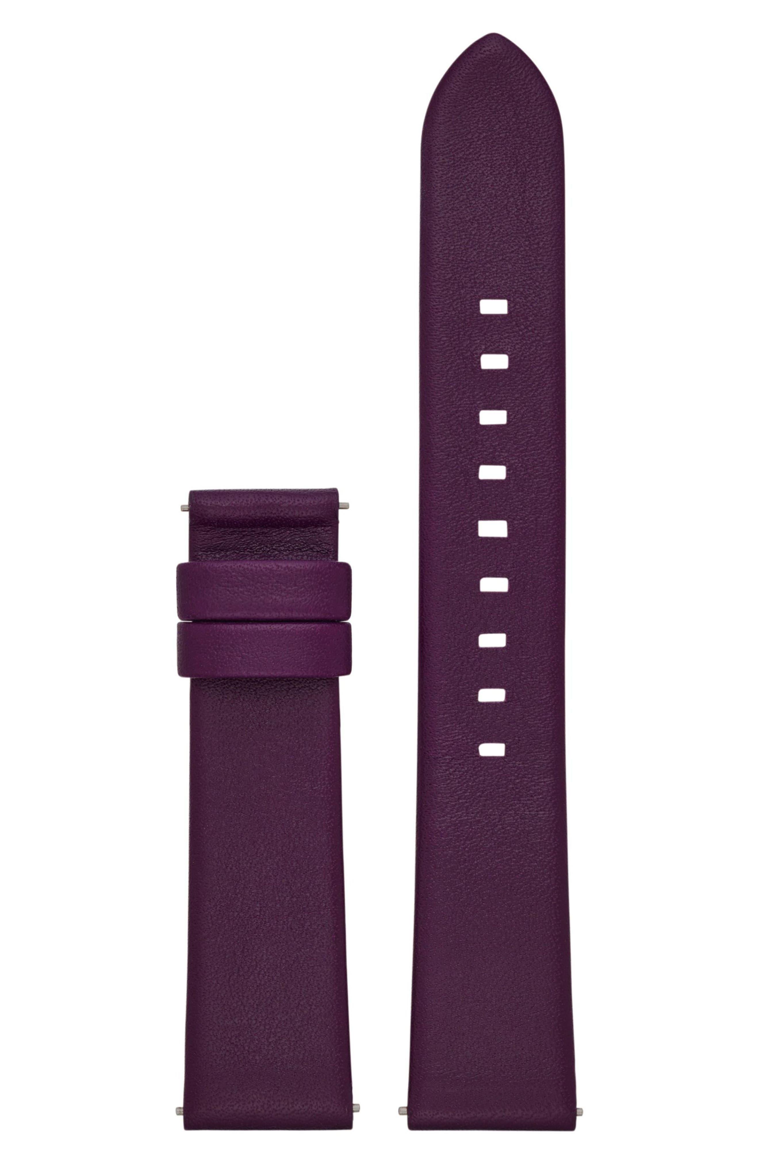 Sofie 18mm Leather Watch Strap,                         Main,                         color, Plum