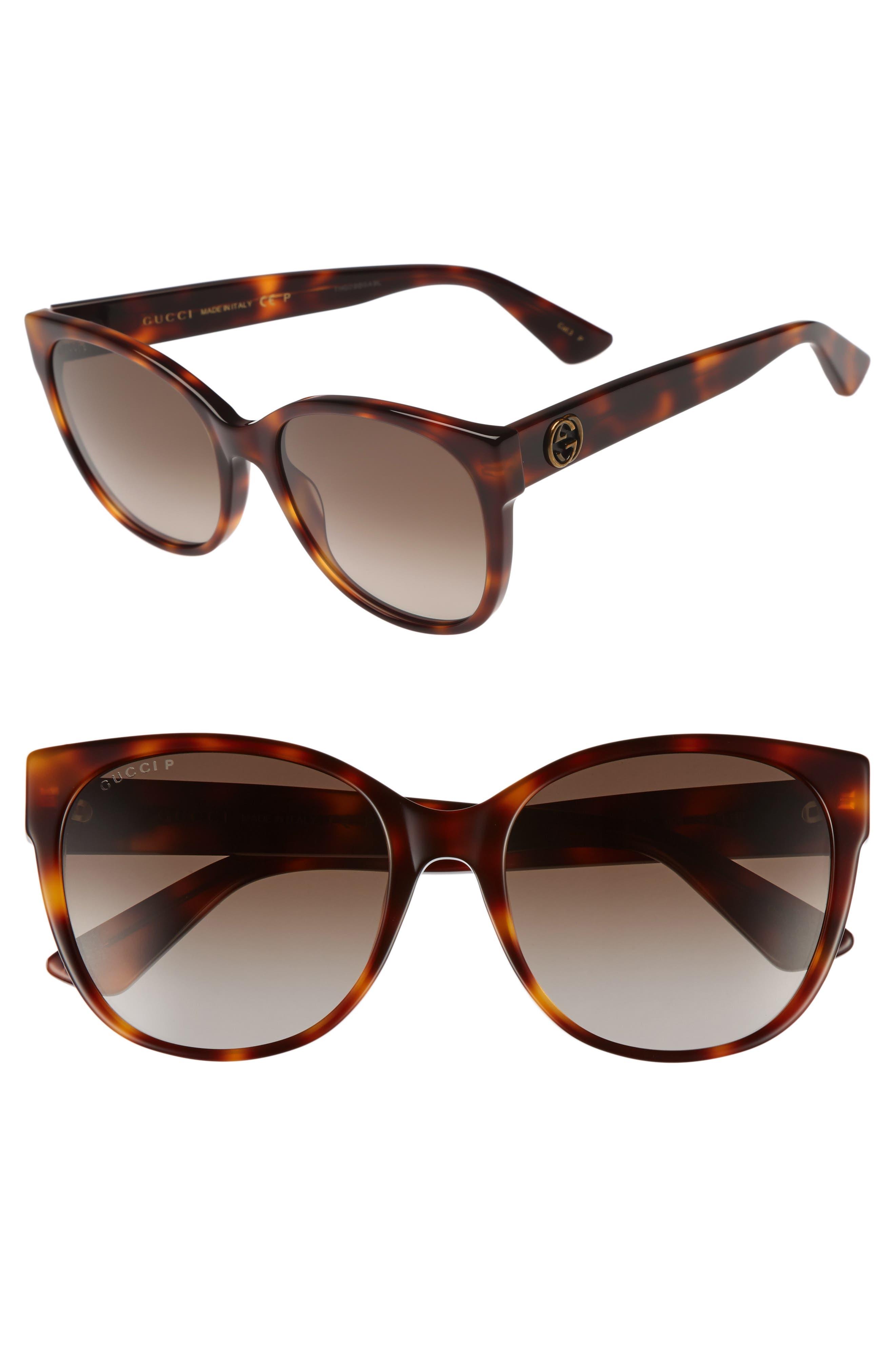 56mm Polarized Cat Eye Sunglasses,                         Main,                         color, Havana/ Brown