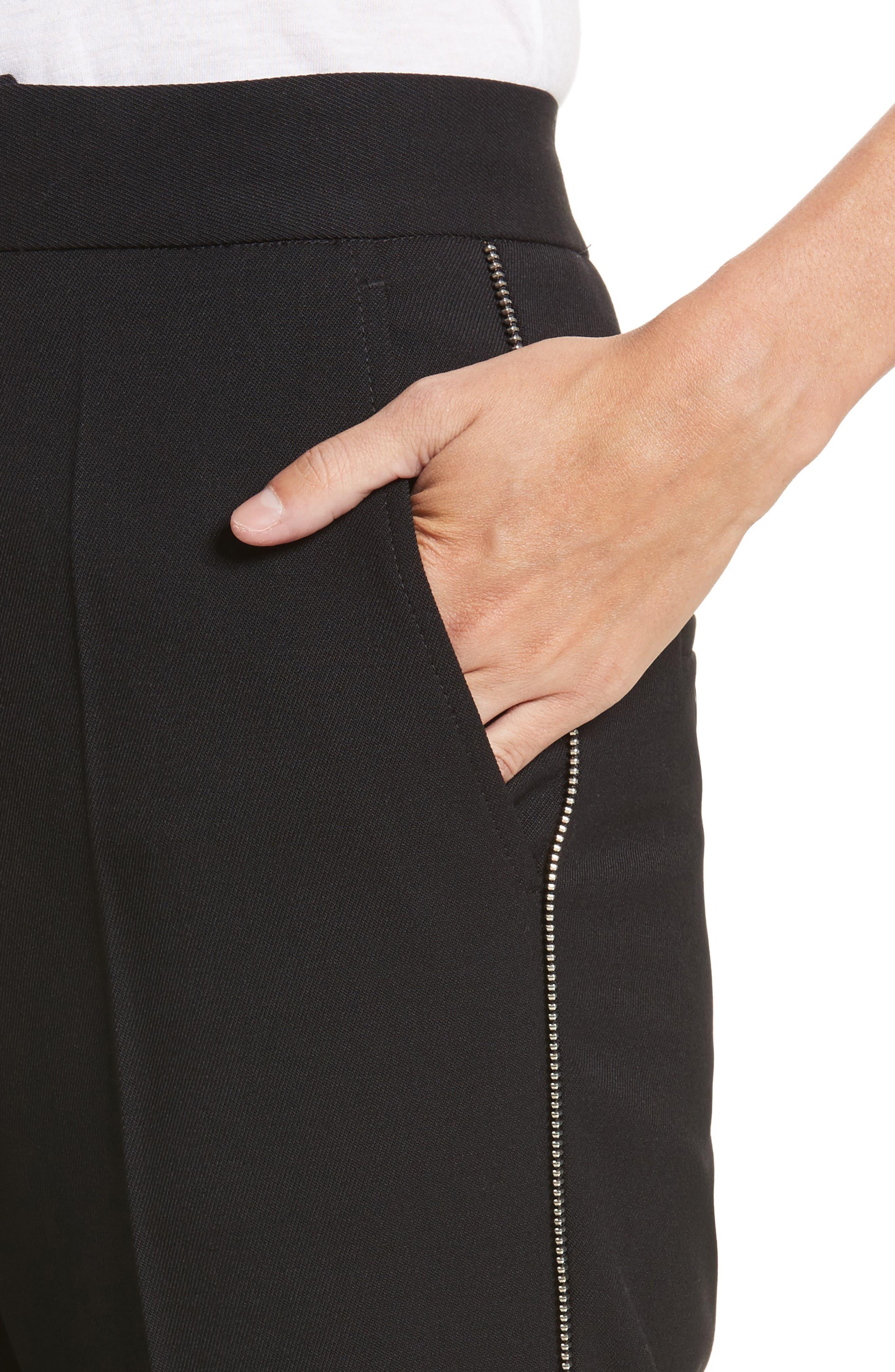 Side Zip Detail Suiting Pants,                             Alternate thumbnail 4, color,                             Black