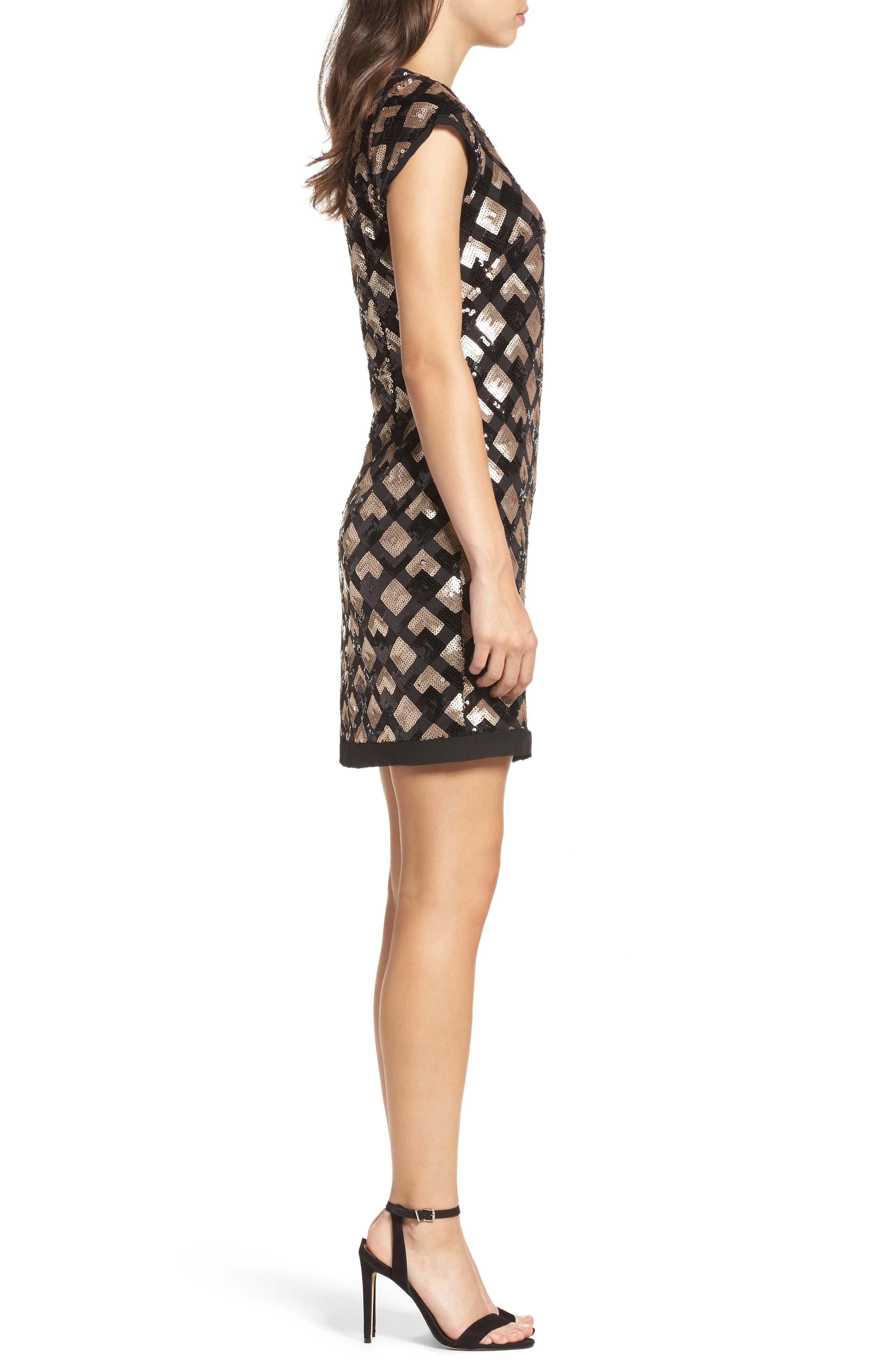 Sequin Sheath Dress,                             Alternate thumbnail 3, color,                             Black/ Champagne