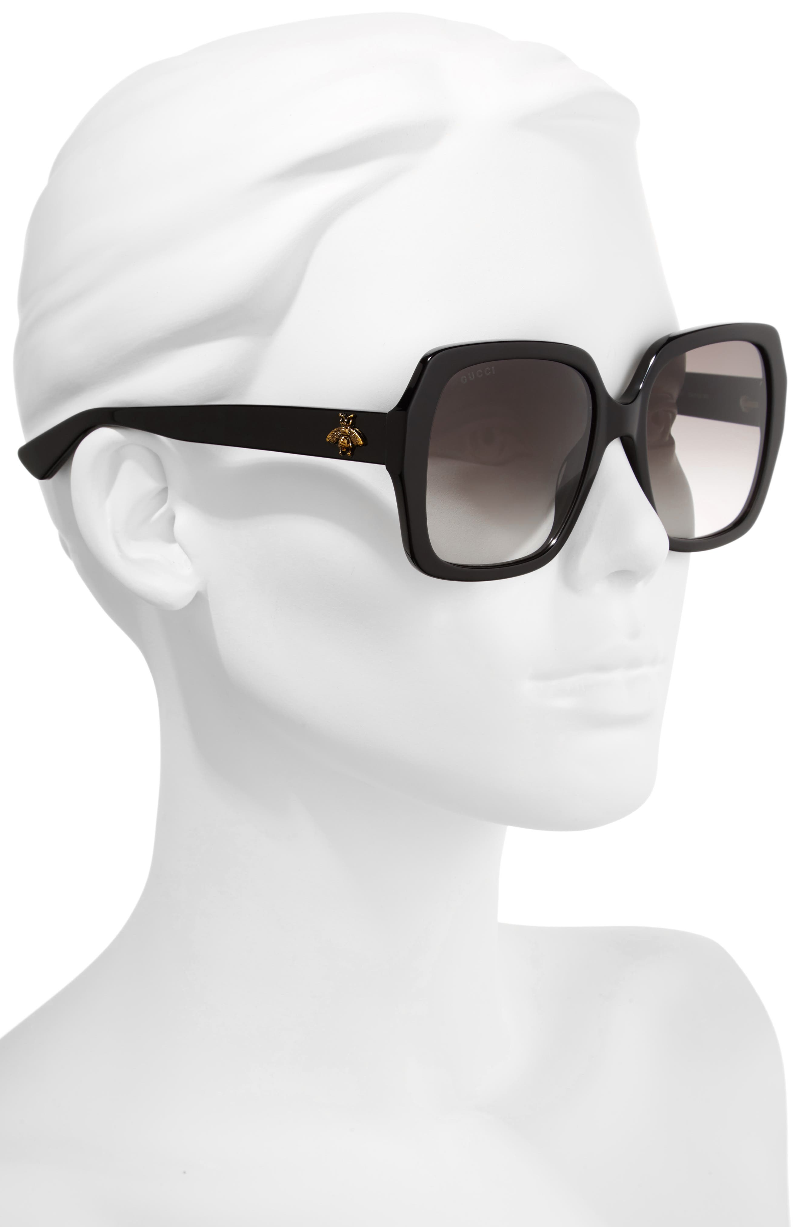 54mm Gradient Square Sunglasses,                             Alternate thumbnail 2, color,                             Black/ Grey