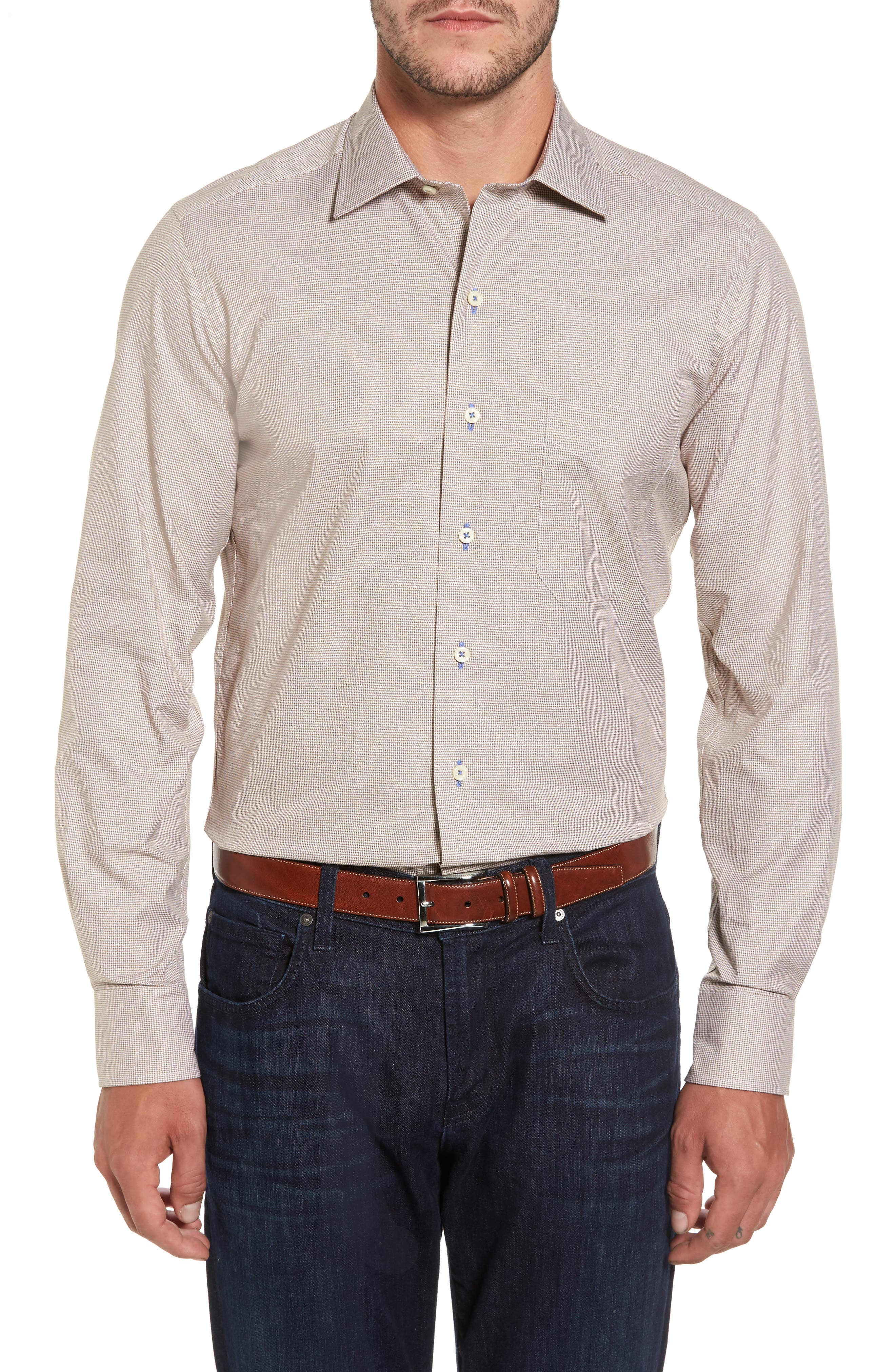 Micro Houndstooth Sport Shirt,                         Main,                         color, Dune