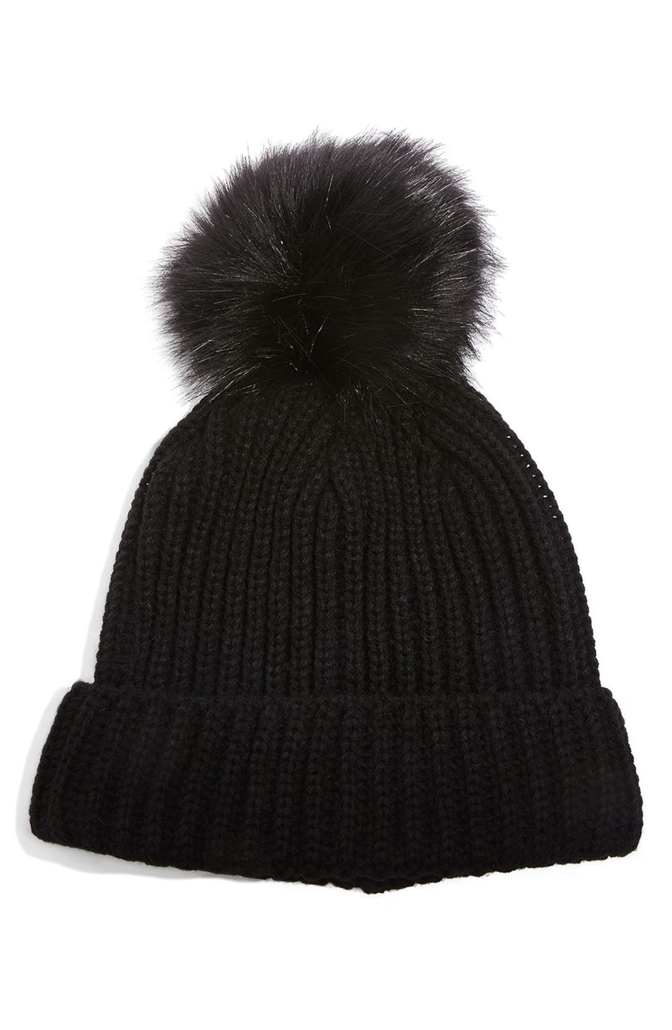 Faux Fur Pompom Beanie,                             Main thumbnail 1, color,                             Black