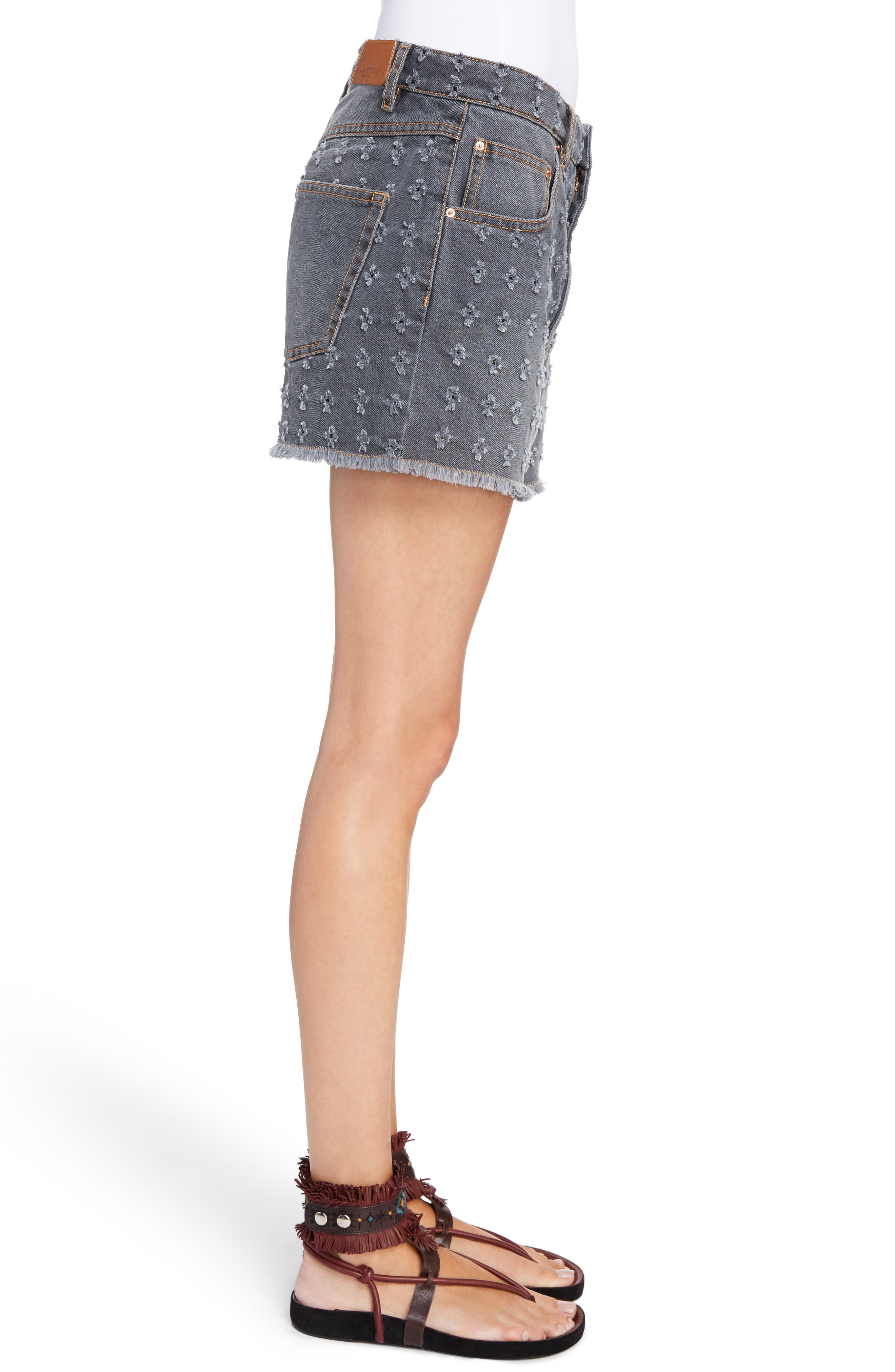 Isabel Marant Étoile Ripped Denim Shorts,                             Alternate thumbnail 5, color,                             Grey