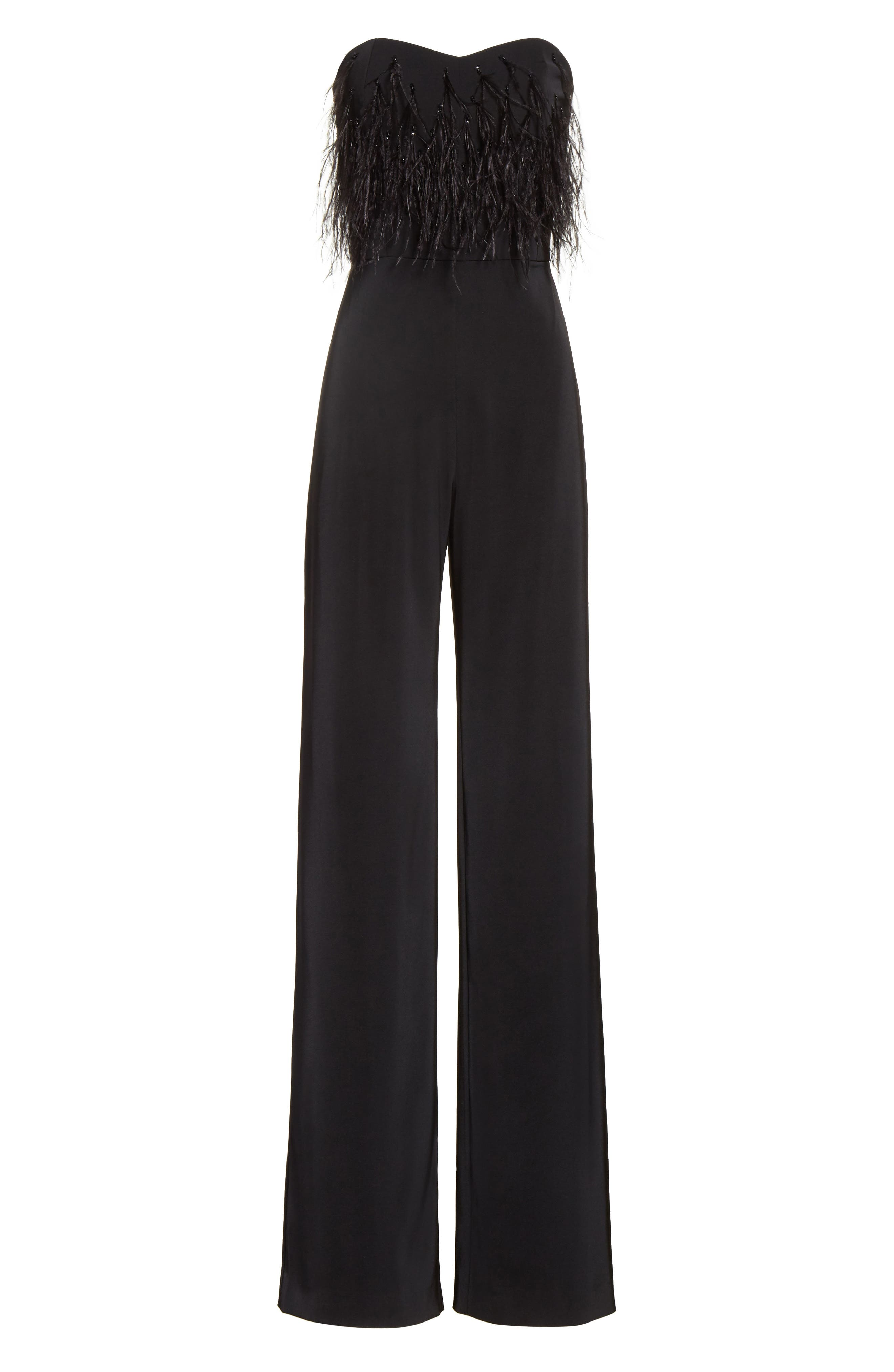 Faux Feather Trim Satin Backed Crepe Strapless Jumpsuit,                             Alternate thumbnail 6, color,                             Black Feather