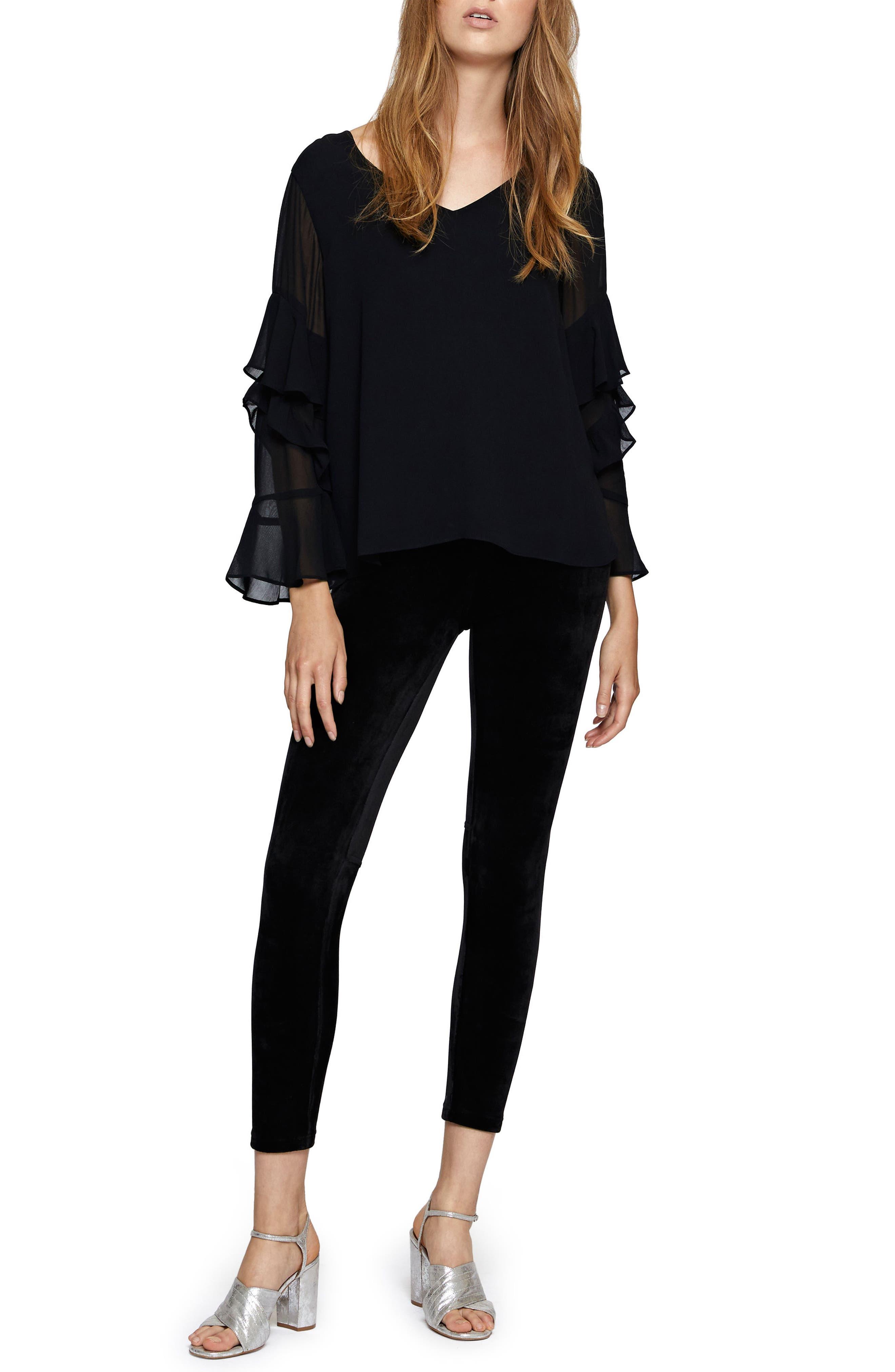 Bianca Sheer Sleeve Top,                             Alternate thumbnail 3, color,                             Black