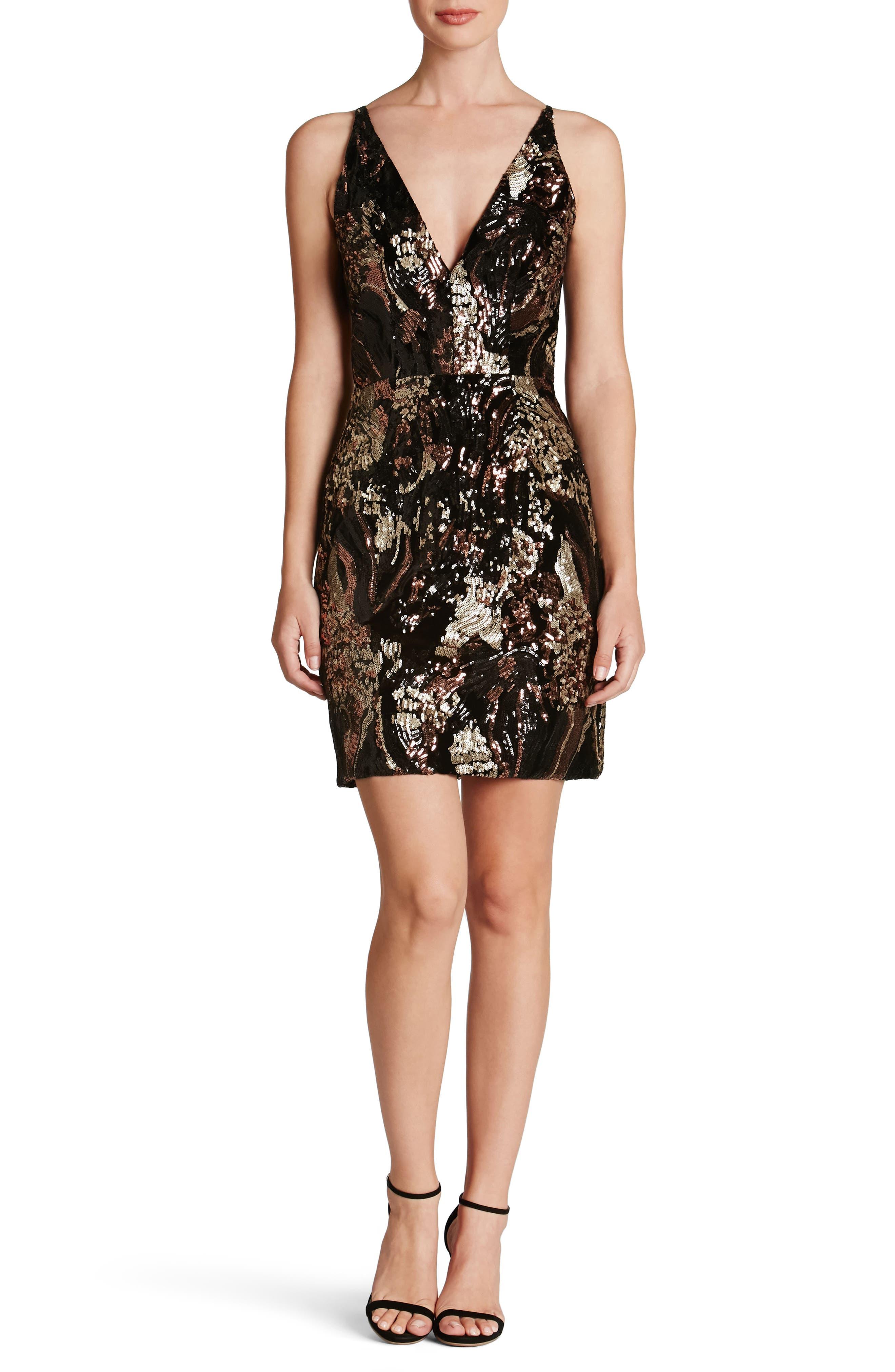 Jordyn Plunge Sequin Body-Con Dress,                         Main,                         color, Black/ Bronze