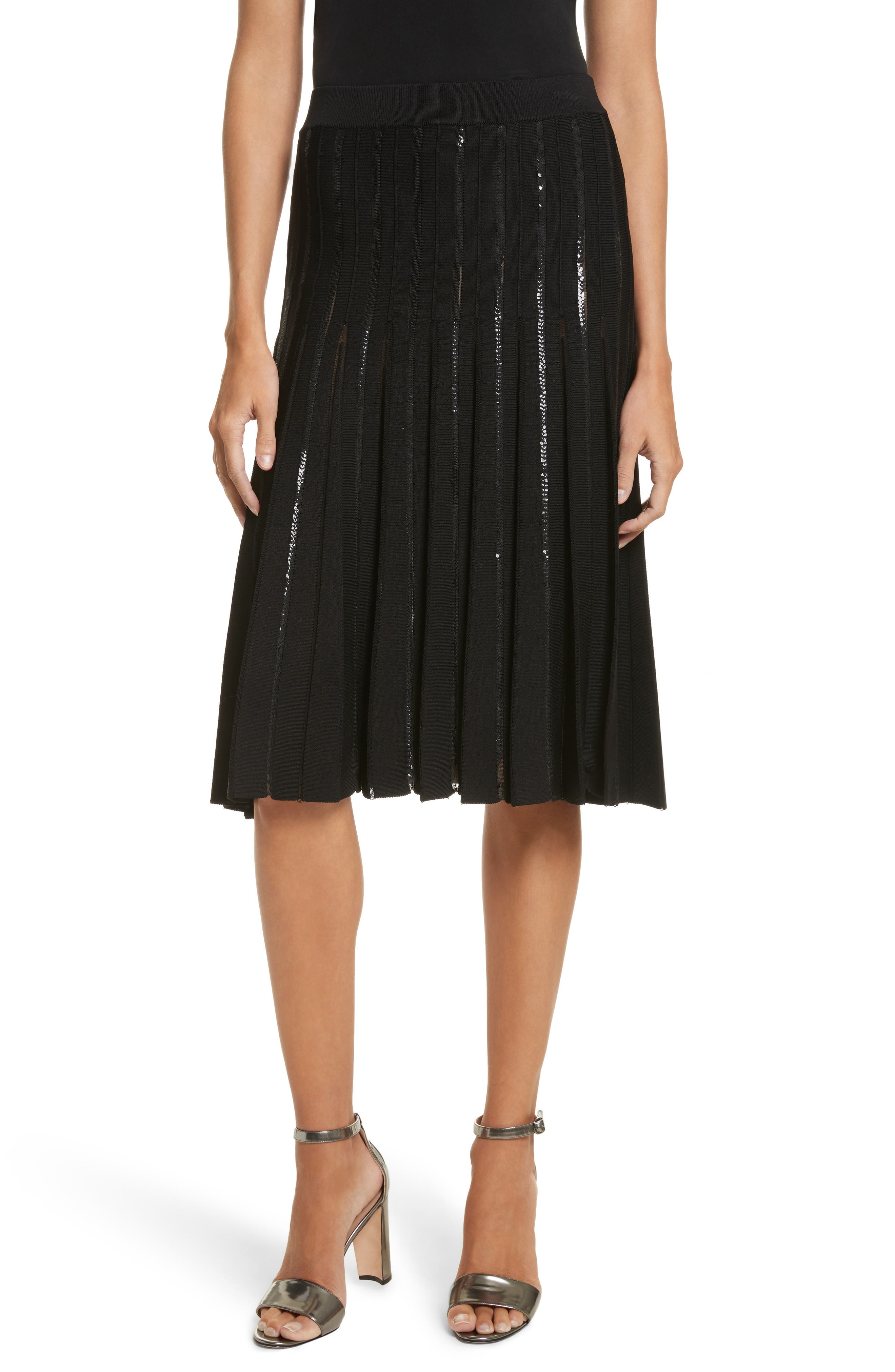 Pleated Sequin Flare Skirt,                             Main thumbnail 1, color,                             Black