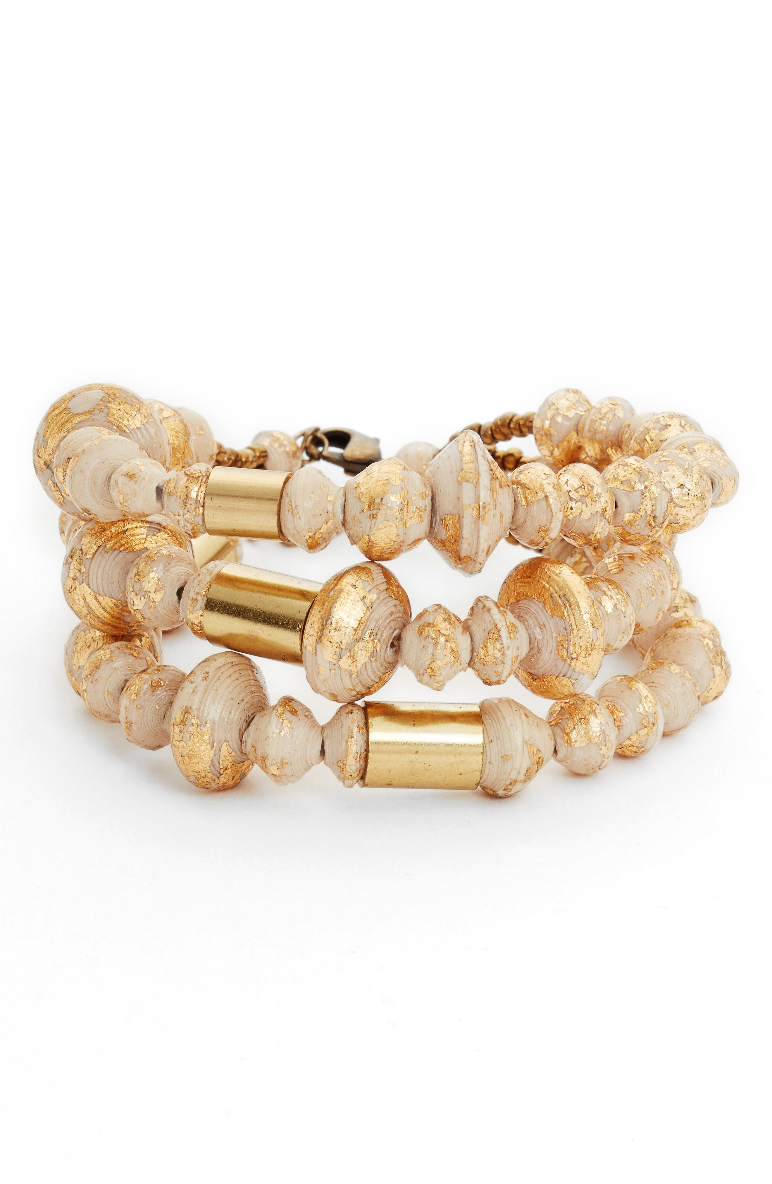 Juniper Strands Paper Bead Bracelet,                         Main,                         color, Cream/ Gold