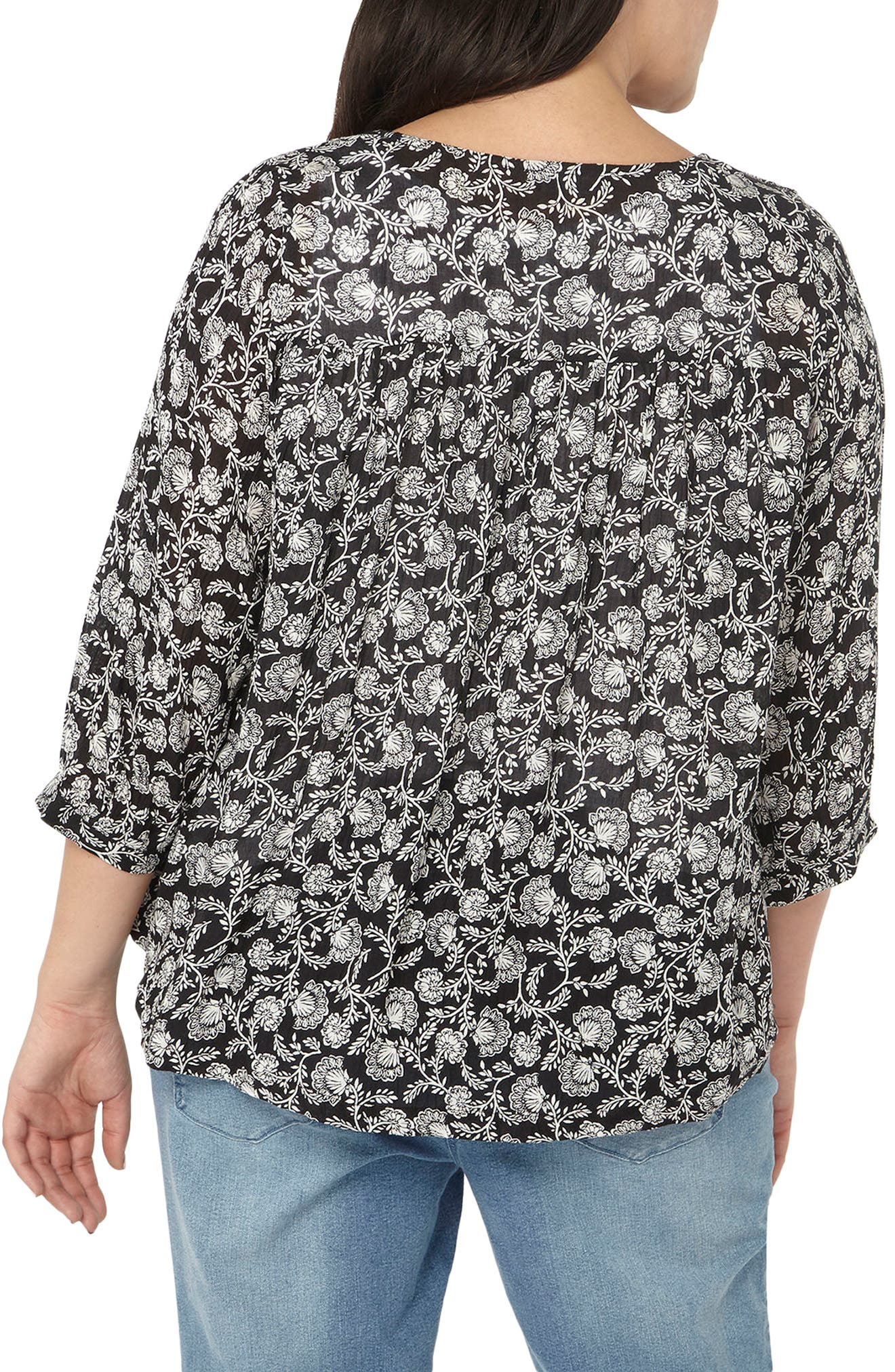 Alternate Image 2  - Evans Floral Print Cover-Up (Plus Size)