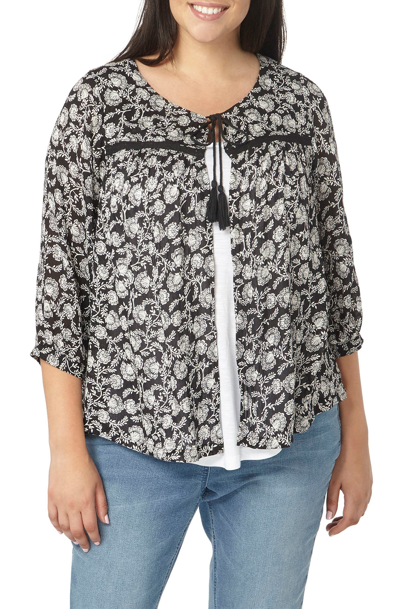 Alternate Image 1 Selected - Evans Floral Print Cover-Up (Plus Size)