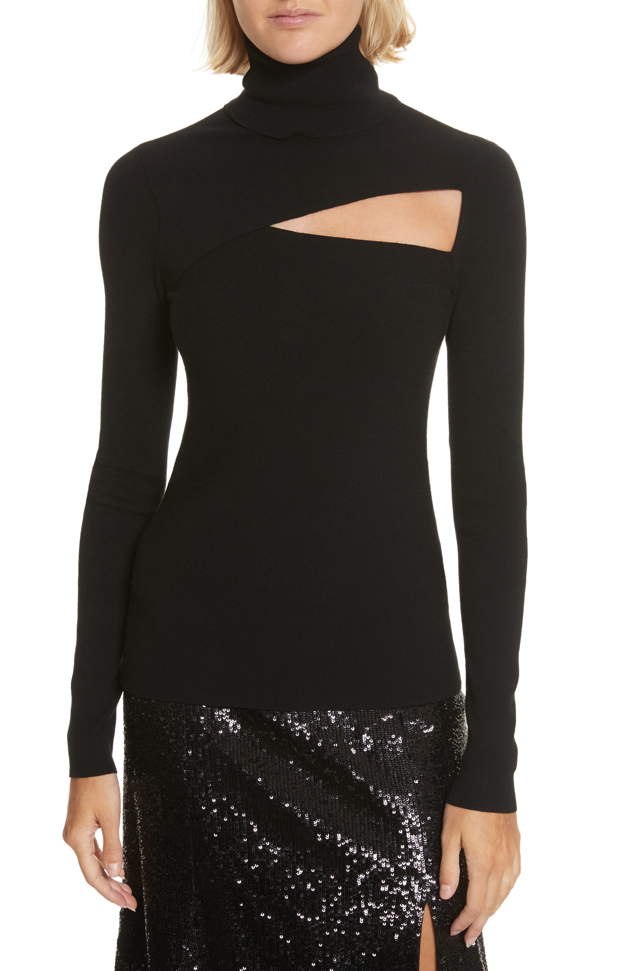 Camden Cutout Turtleneck Sweater,                             Main thumbnail 1, color,                             Black