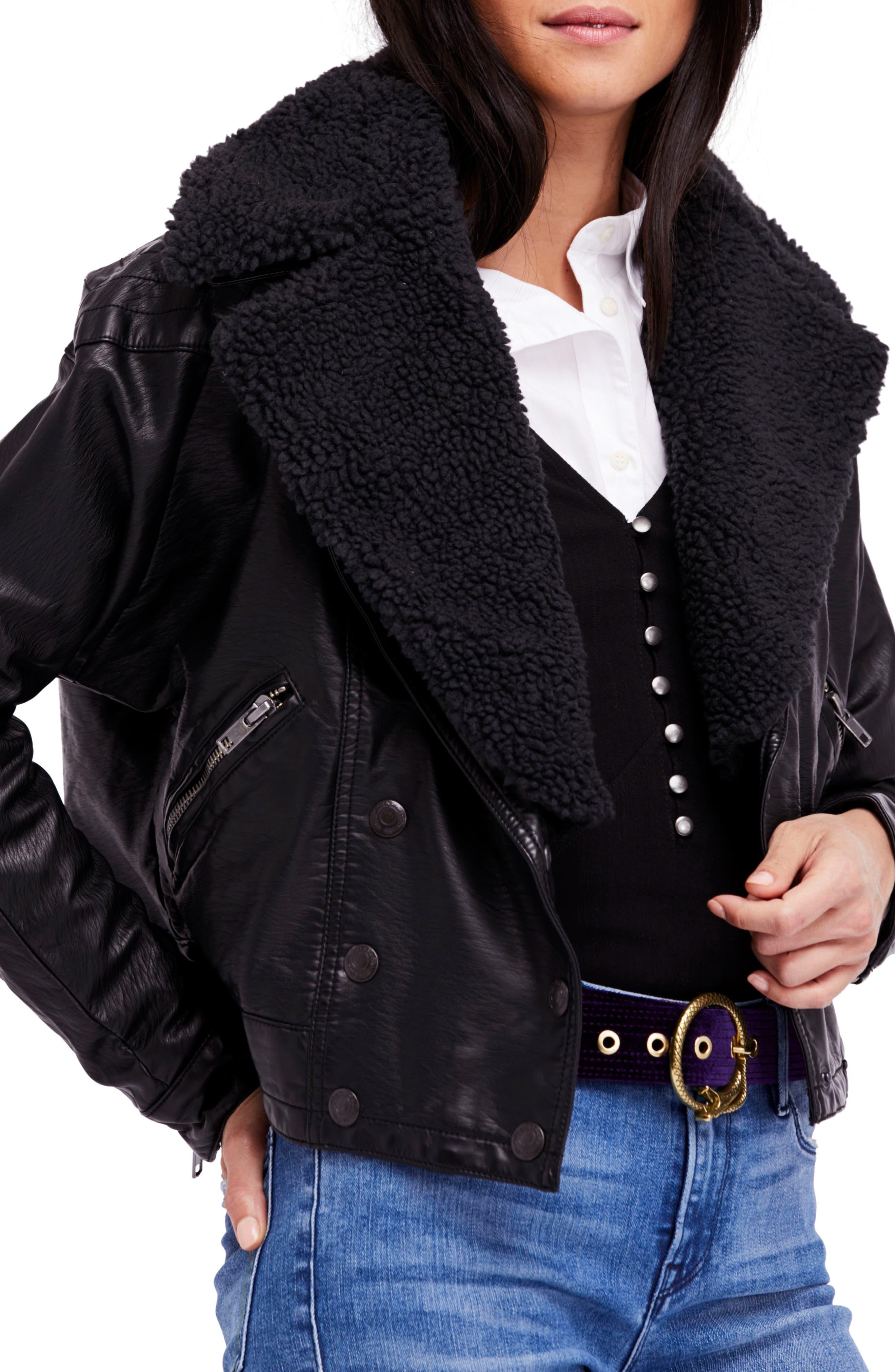 Halen Faux Leather Moto Jacket,                             Main thumbnail 1, color,                             Black
