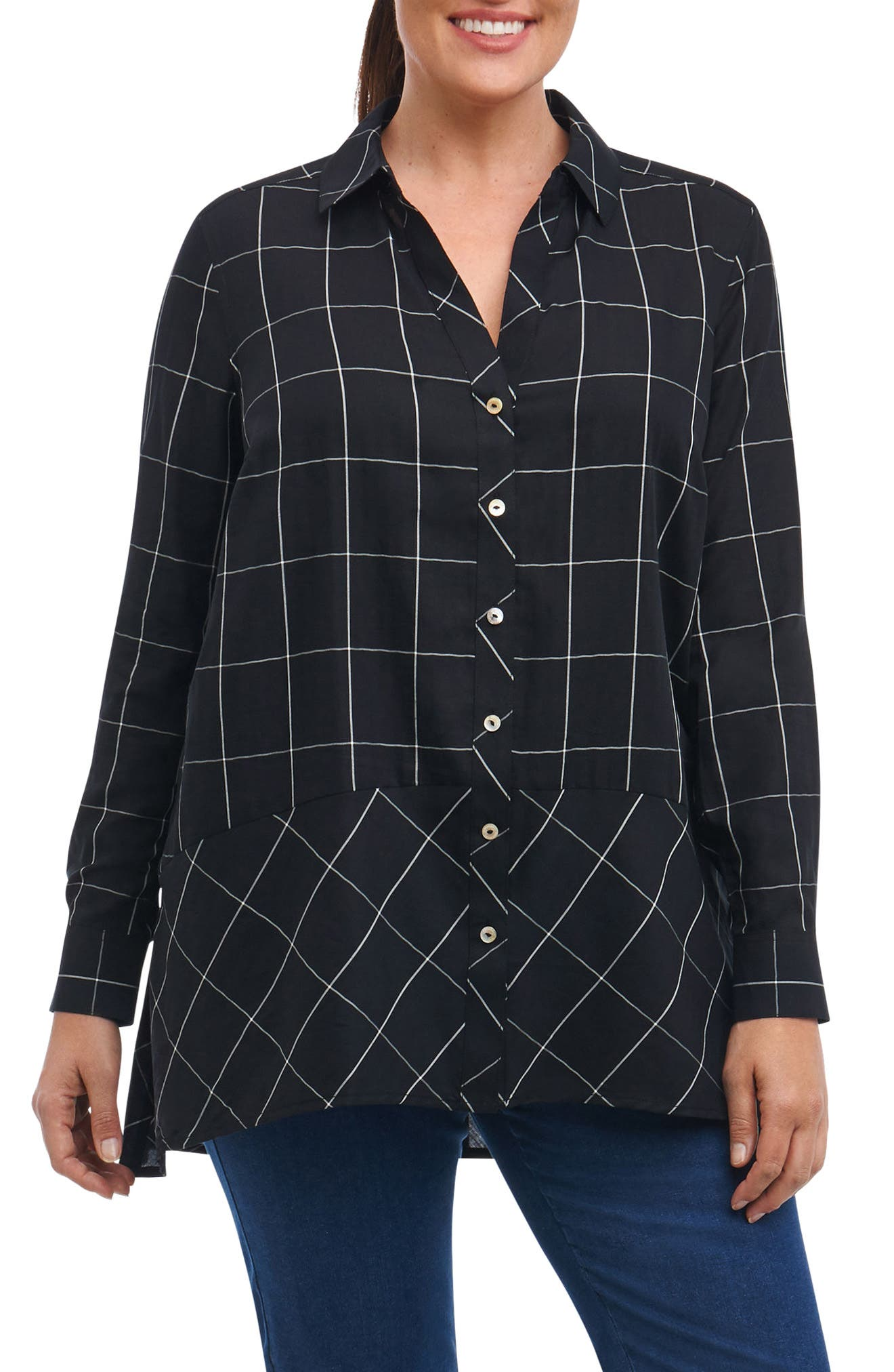 Main Image - Foxcroft Daniela Windowpane Tunic Shirt (Plus Size)