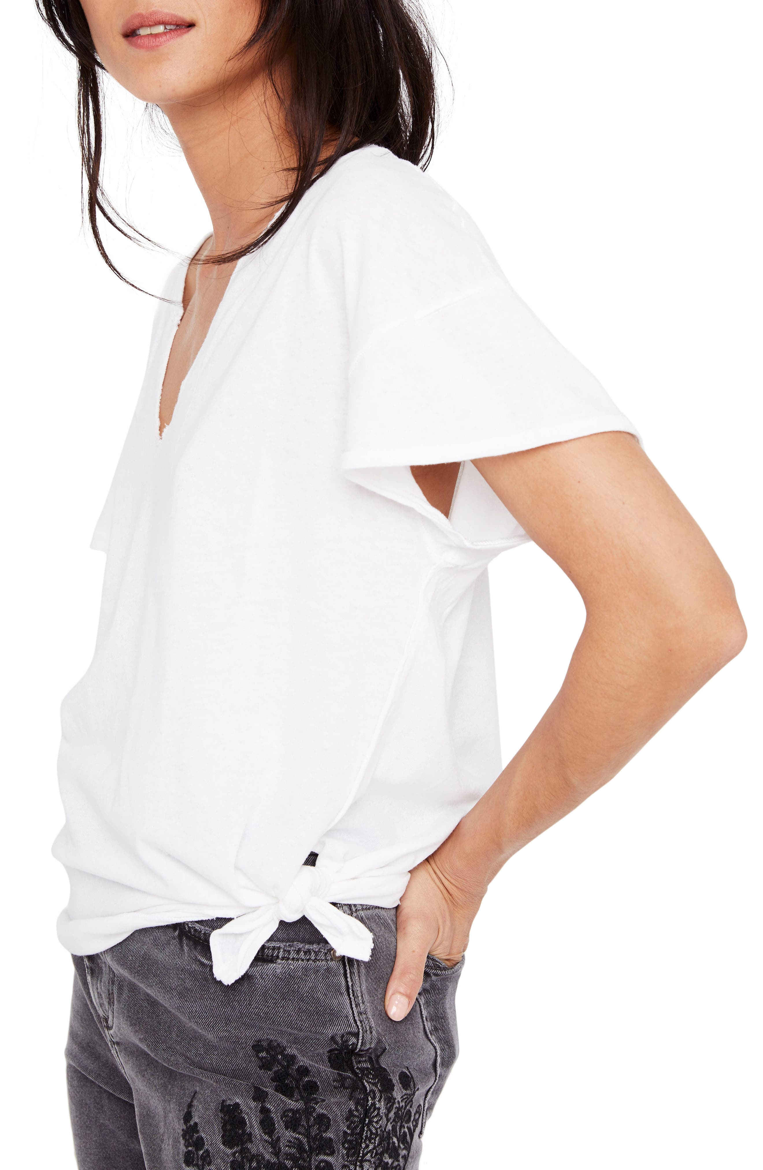 Free People Lilly Side Tie Tee