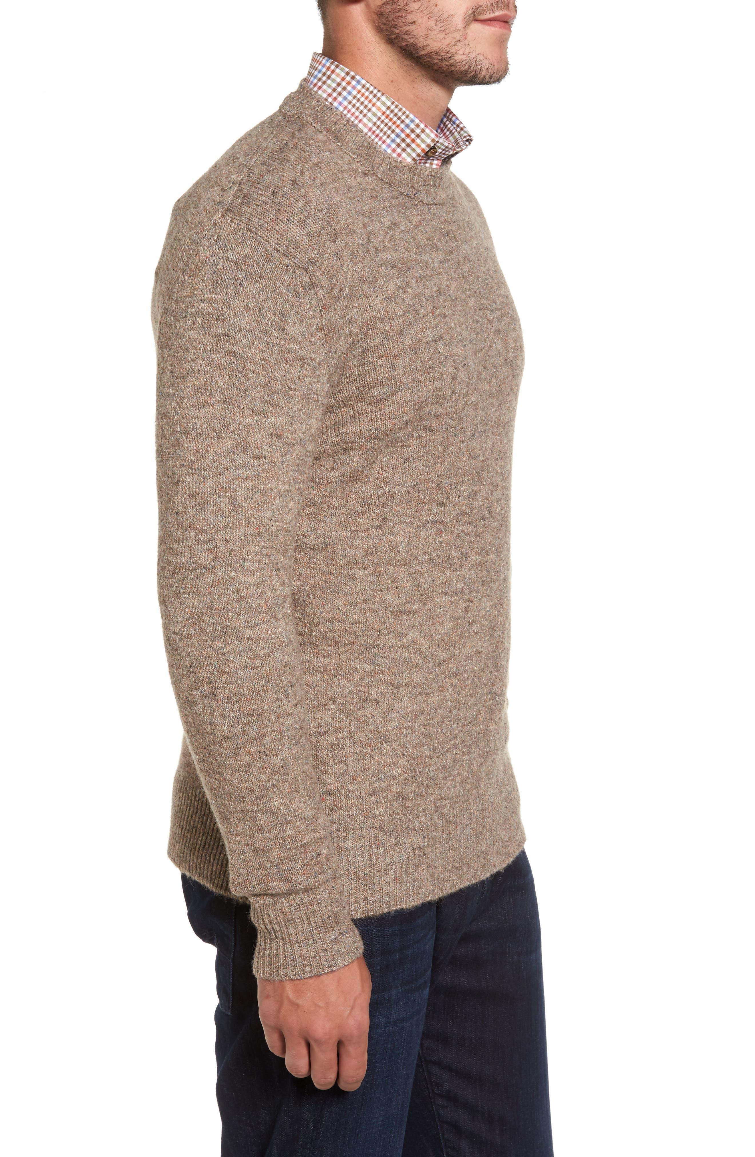 Tweed Crewneck Sweater,                             Alternate thumbnail 3, color,                             Sand