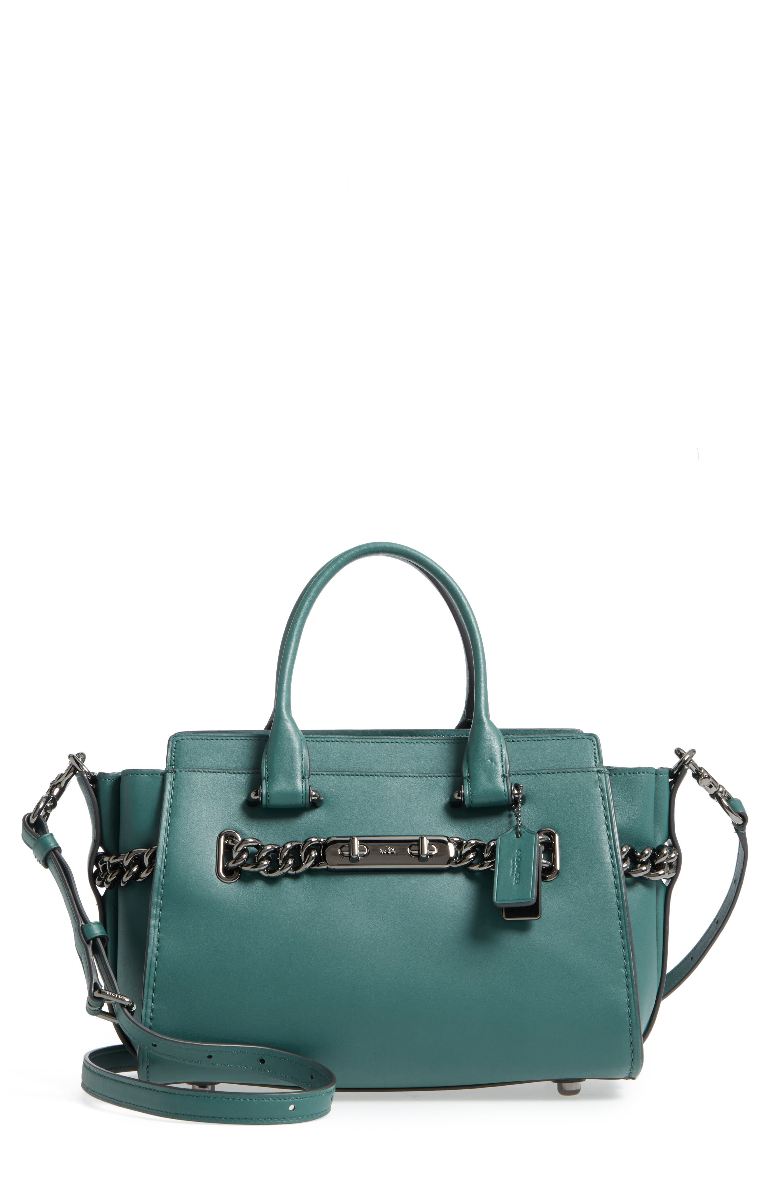 ID Bracelet Swagger 27 Calfskin Leather Satchel,                             Main thumbnail 1, color,                             Dark Turquoise