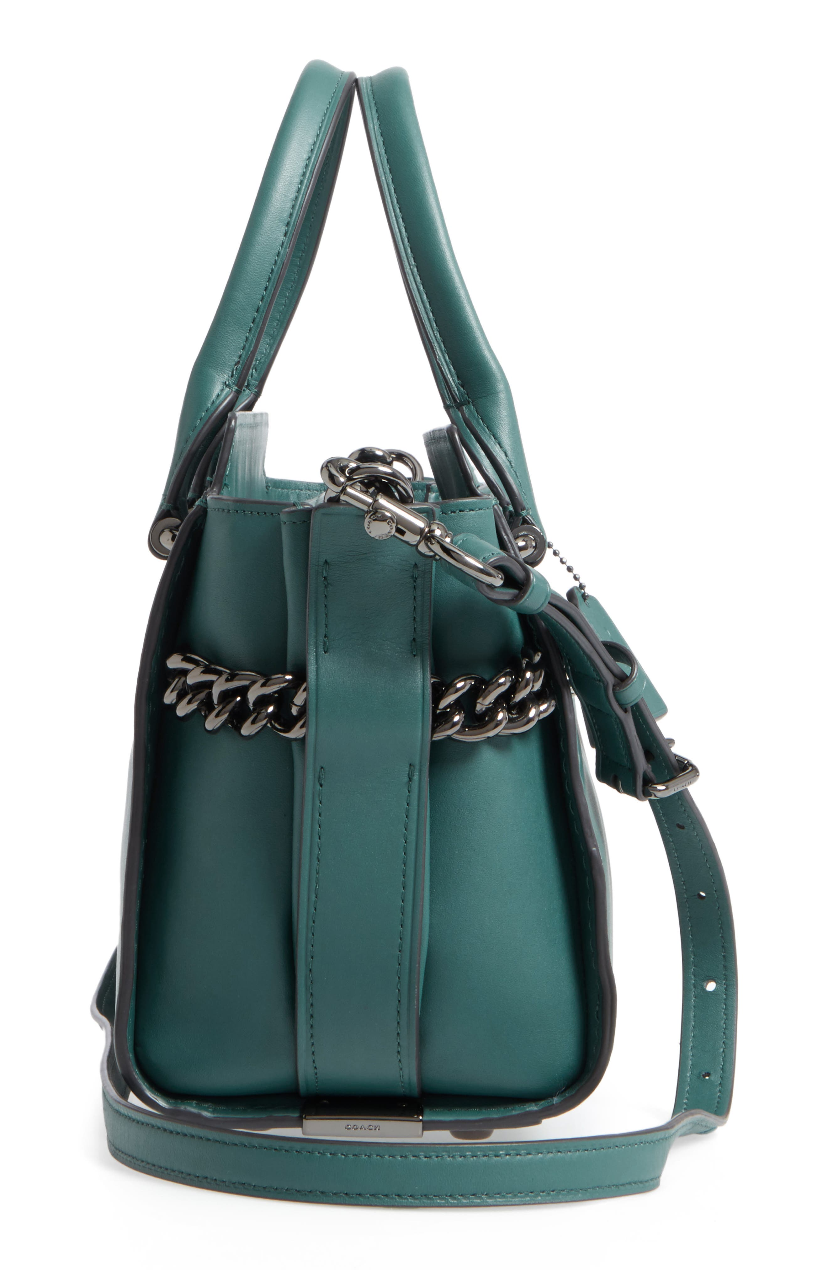 ID Bracelet Swagger 27 Calfskin Leather Satchel,                             Alternate thumbnail 4, color,                             Dark Turquoise