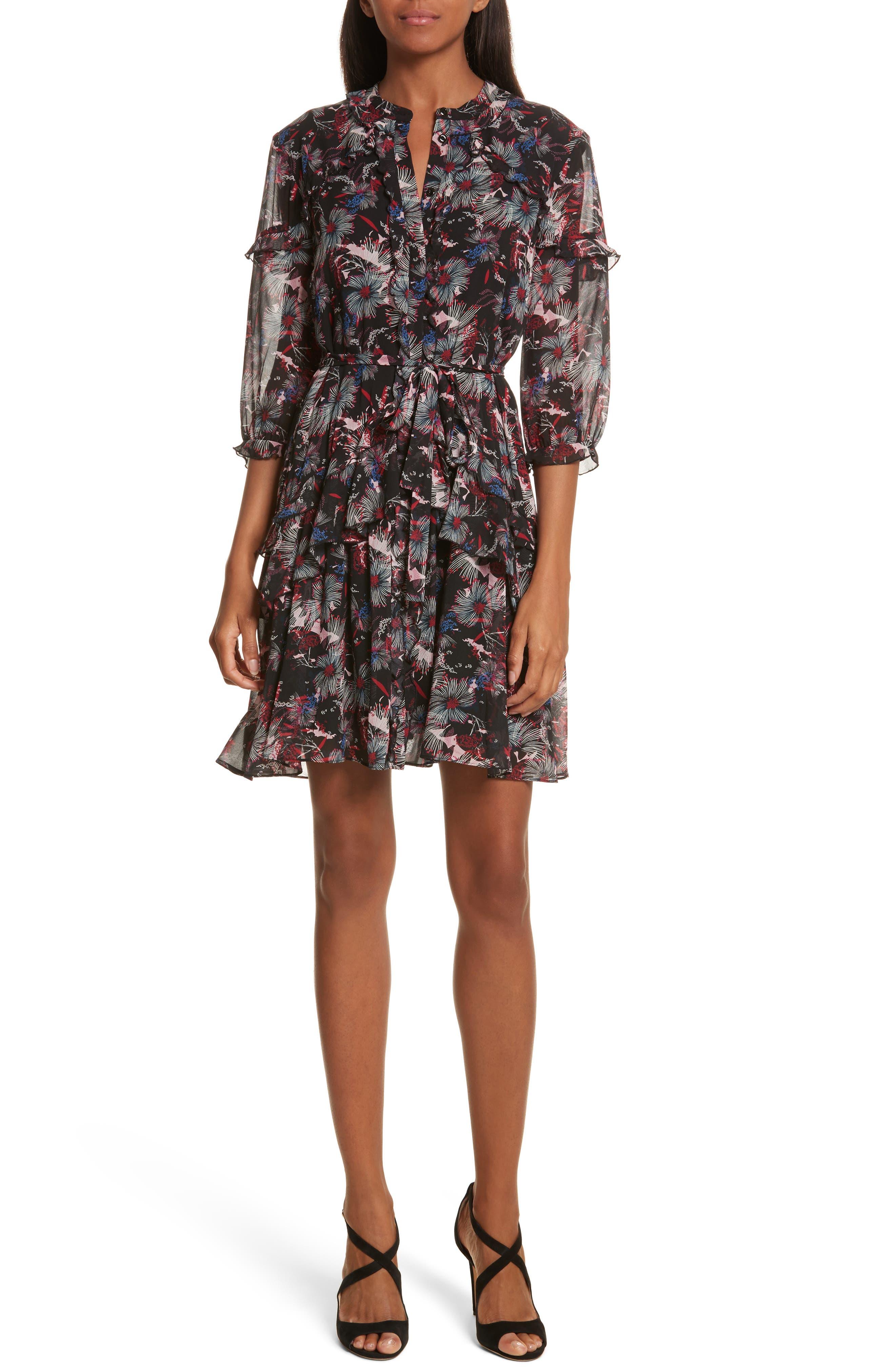 SALONI Tilly Ruffle Silk Dress