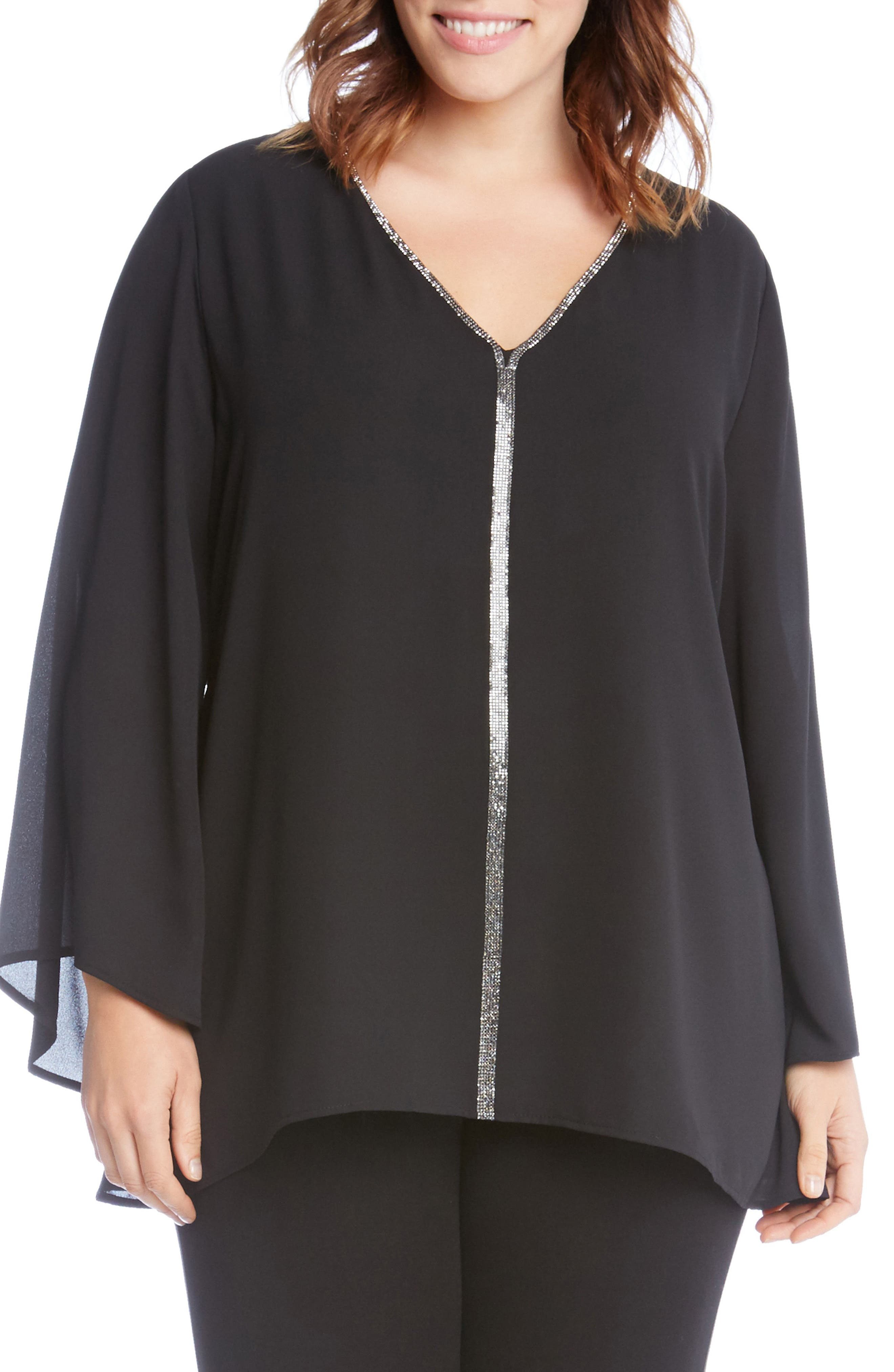 Sparkle Bell Sleeve Top,                         Main,                         color, Black