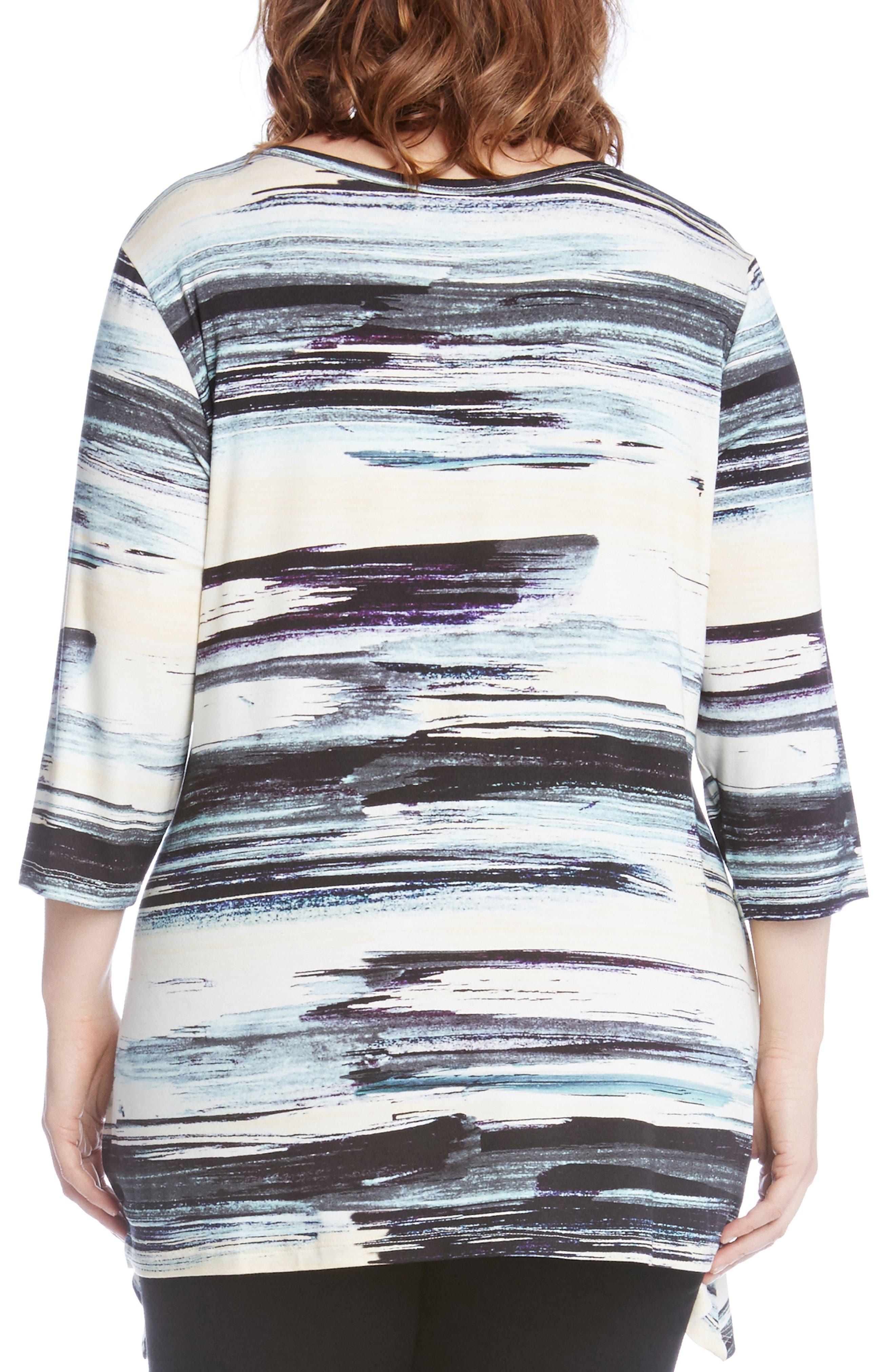 Alternate Image 3  - Karen Kane Brushstroke Print Handkerchief Hem Top (Plus Size)