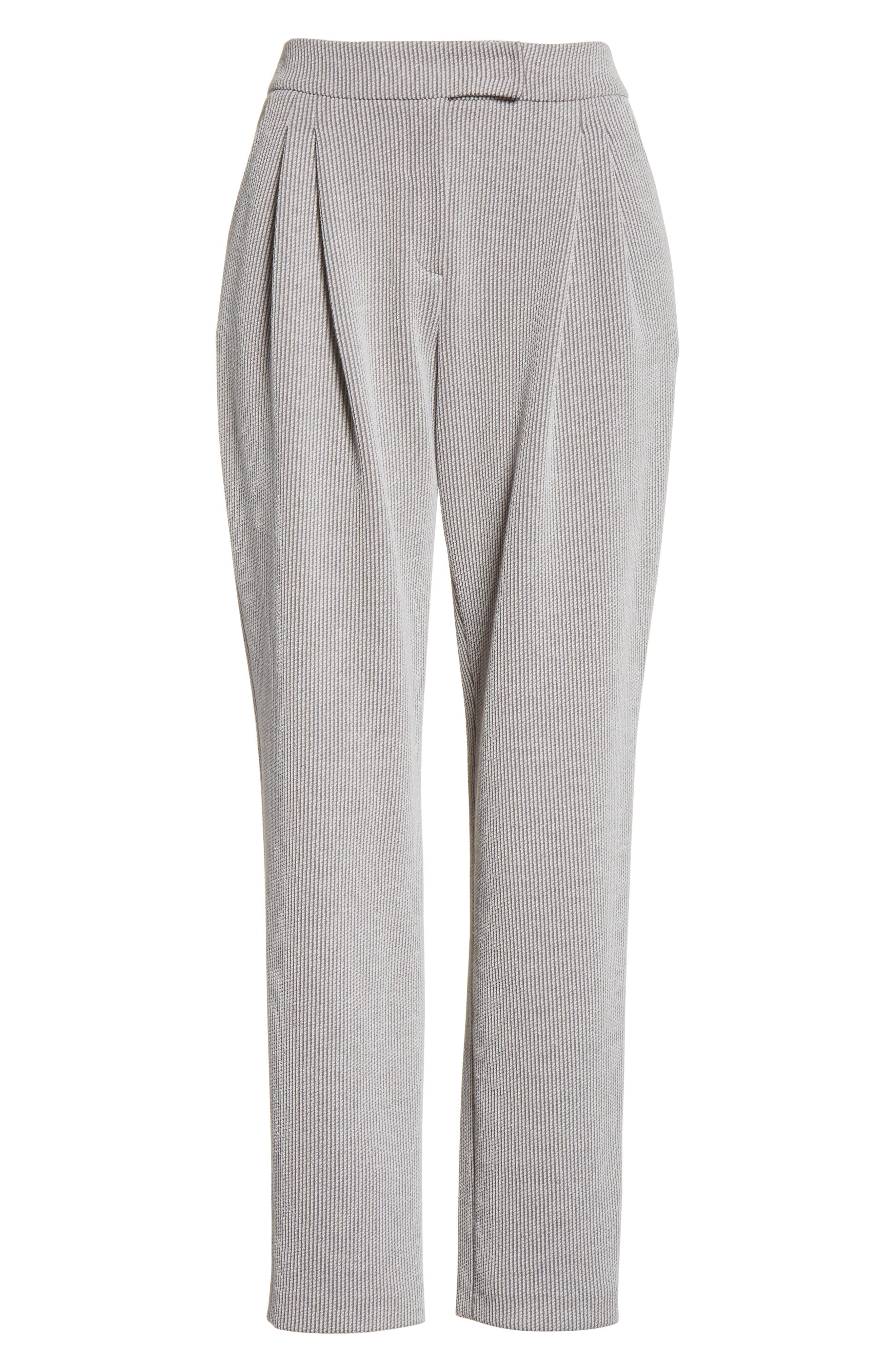 Pleated Stripe Jacquard Pants,                             Alternate thumbnail 8, color,                             Grey Multi