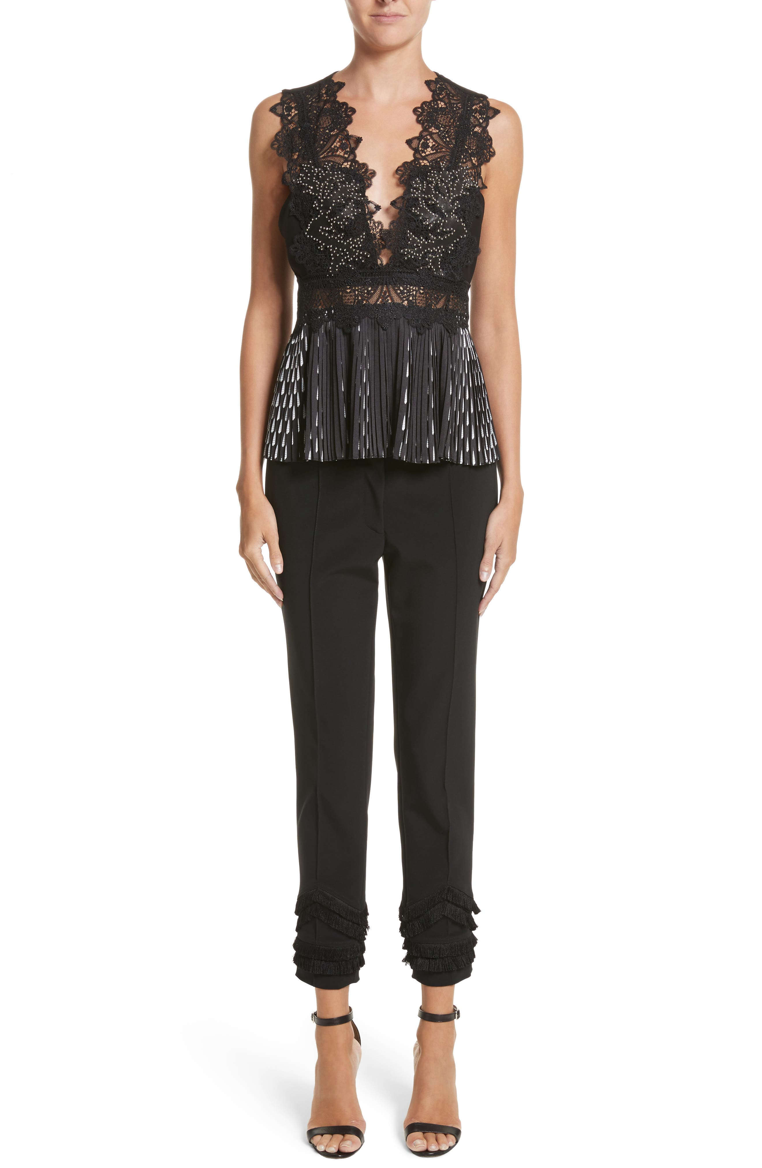Studded Coral Embroidered Pleated Top,                             Alternate thumbnail 8, color,                             Jet
