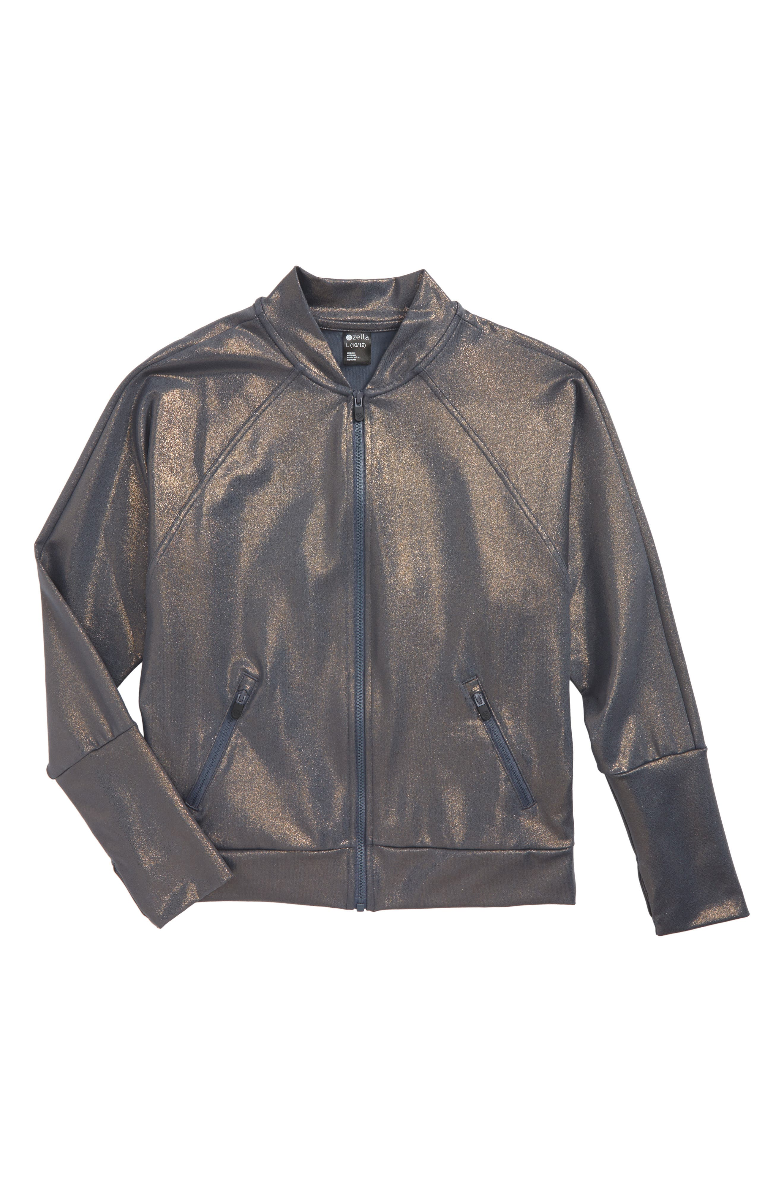 Main Image - Zella Girl Shine Bomber Jacket (Little Girls & Big Girls)