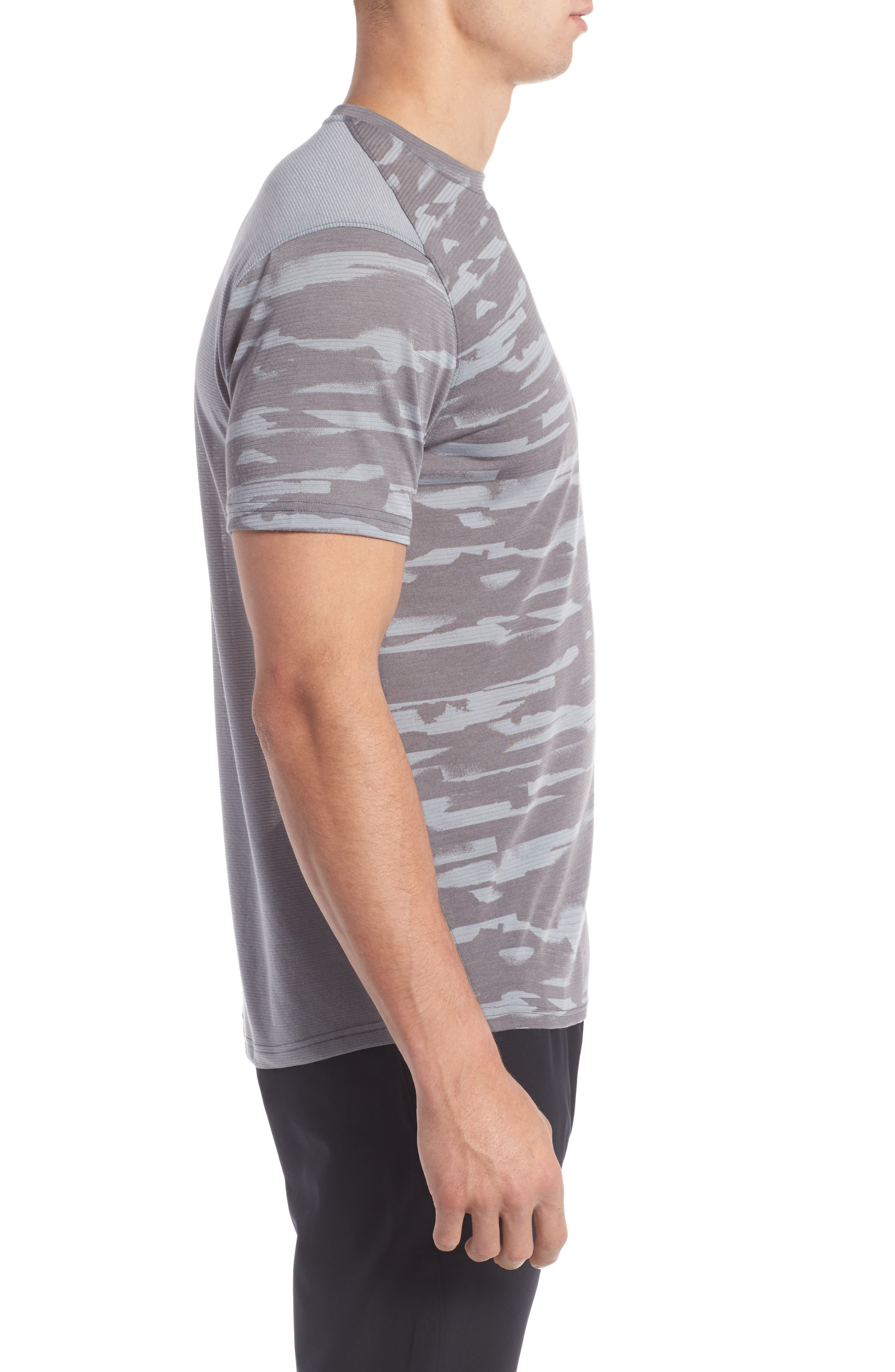 Threadborne Mesh Running T-Shirt,                             Alternate thumbnail 3, color,                             Grey / Black / Reflective