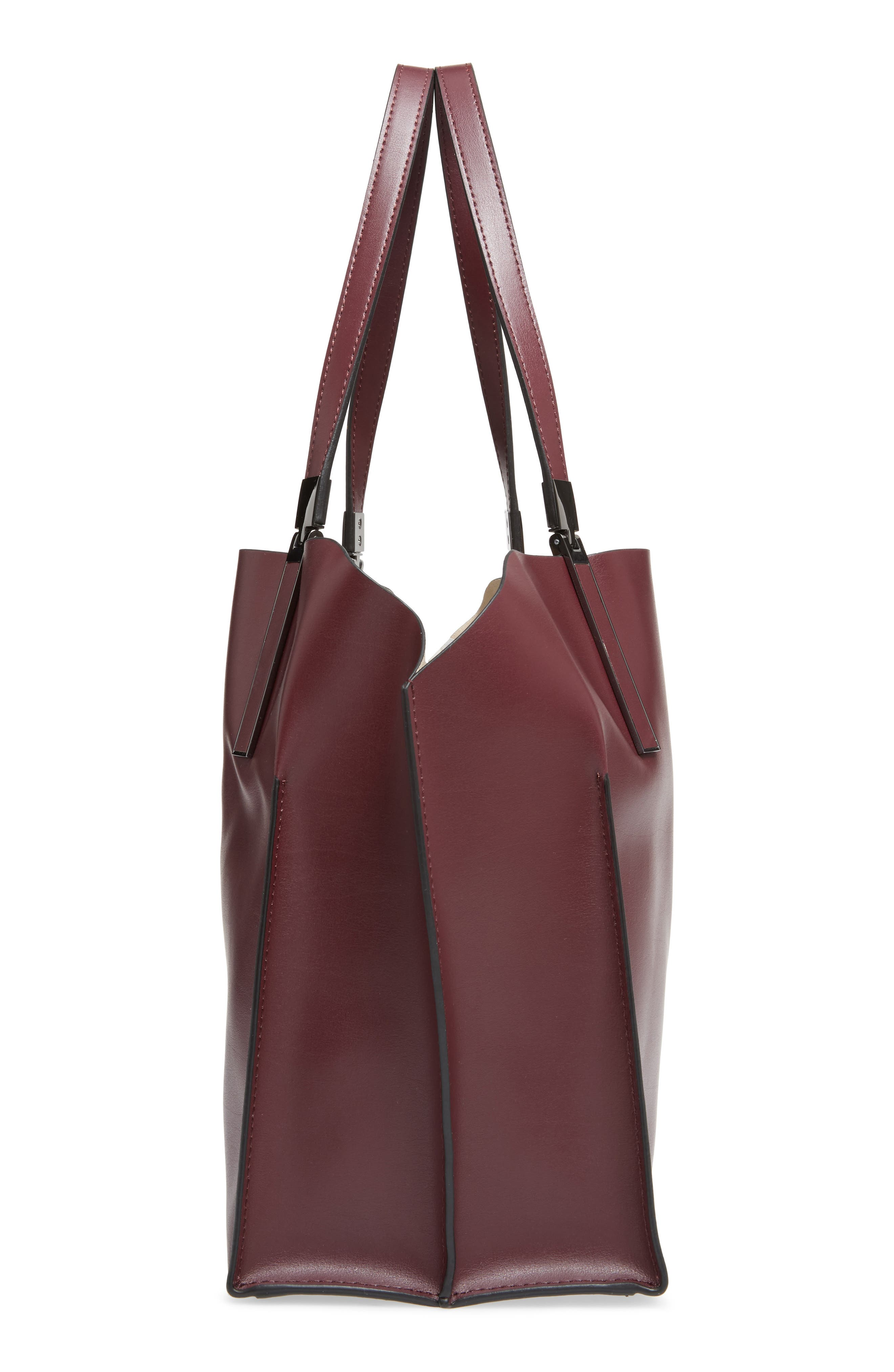 LODIS Silicon Valley Collection Under Lock & Key - Anita RFID East/West Leather Satchel,                             Alternate thumbnail 5, color,                             Chianti/ Taupe