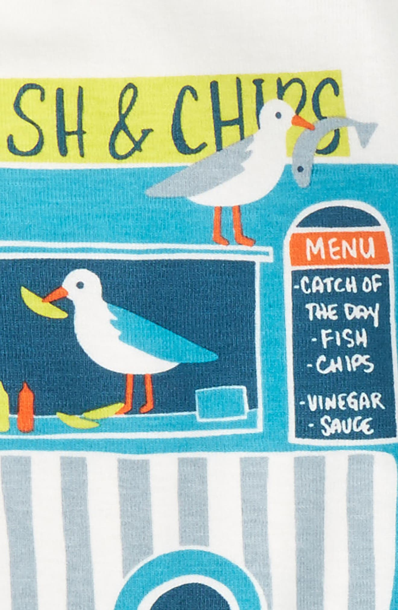 Alternate Image 2  - Tea Collection Fish & Chips Fitted Two-Piece Pajamas (Toddler Boys, Little Boys & Big Boys)