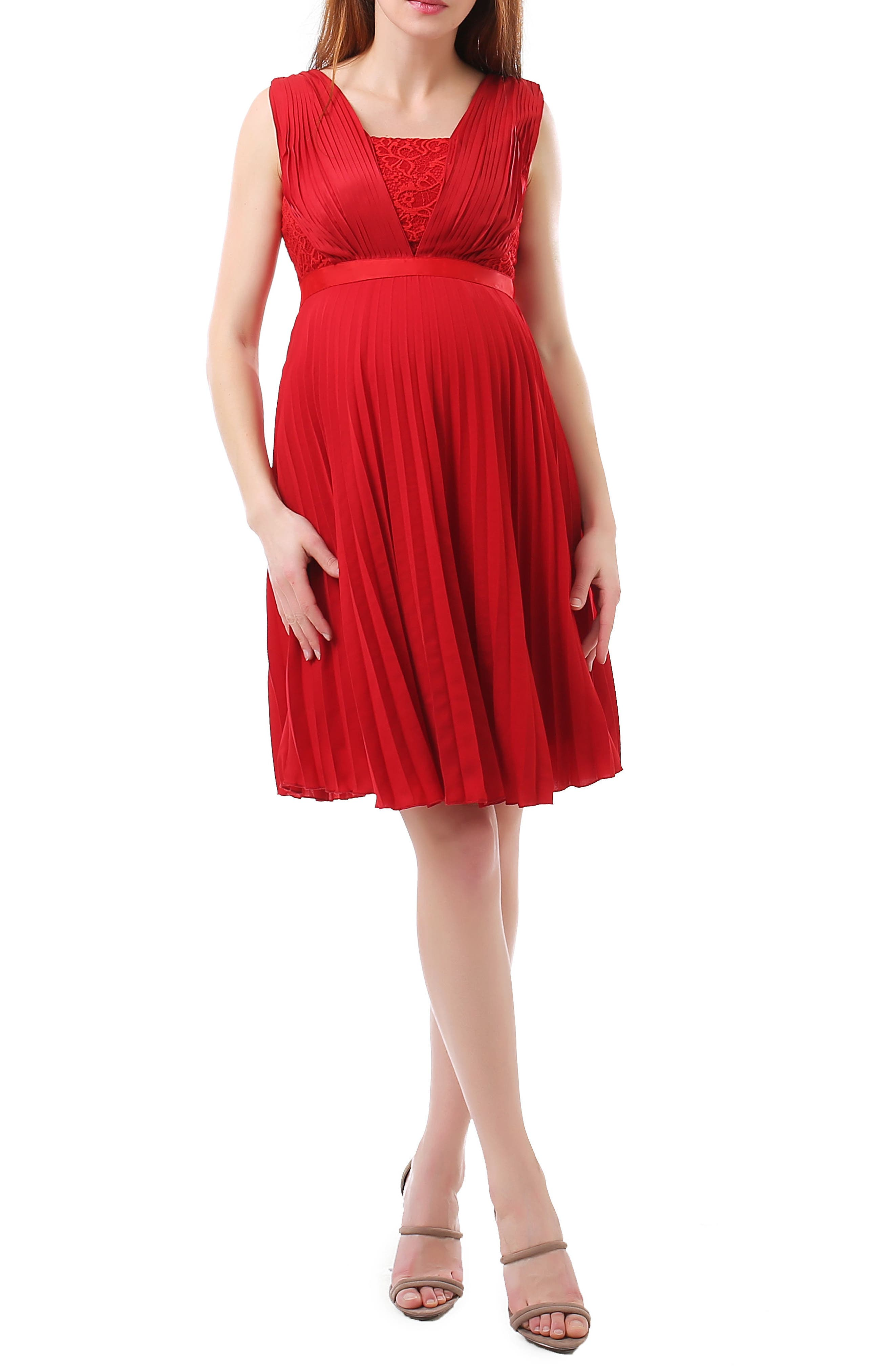 Lauren Chiffon & Lace Maternity Dress,                         Main,                         color, Red